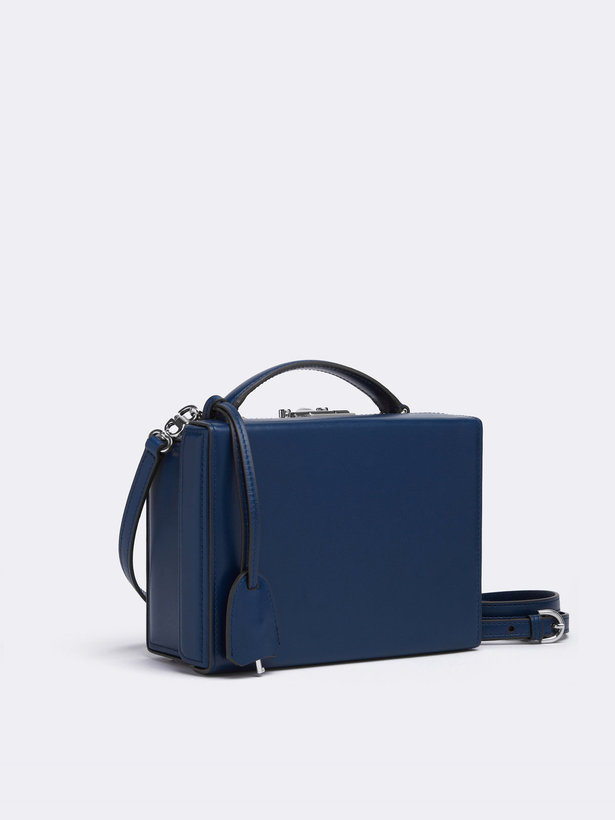 Mark Cross Grace Small Leather Box Bag Seta Box Navy Side