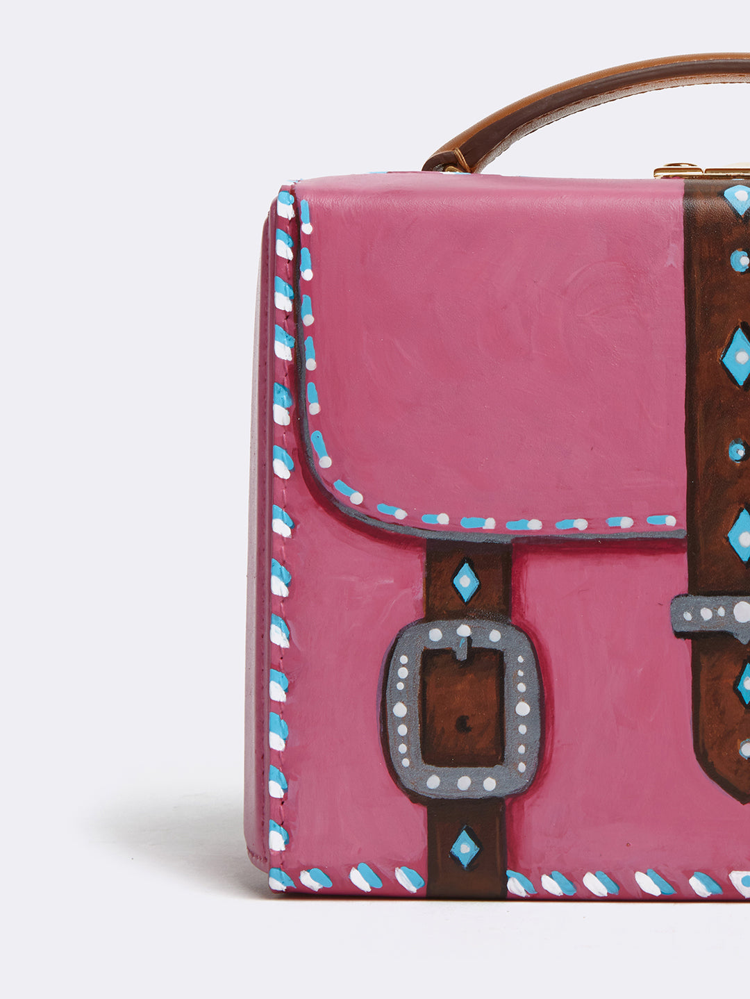 Sophie Matisse x Mark Cross Grace Small Leather Box Bag Smooth Calf Luggage / Pink Front