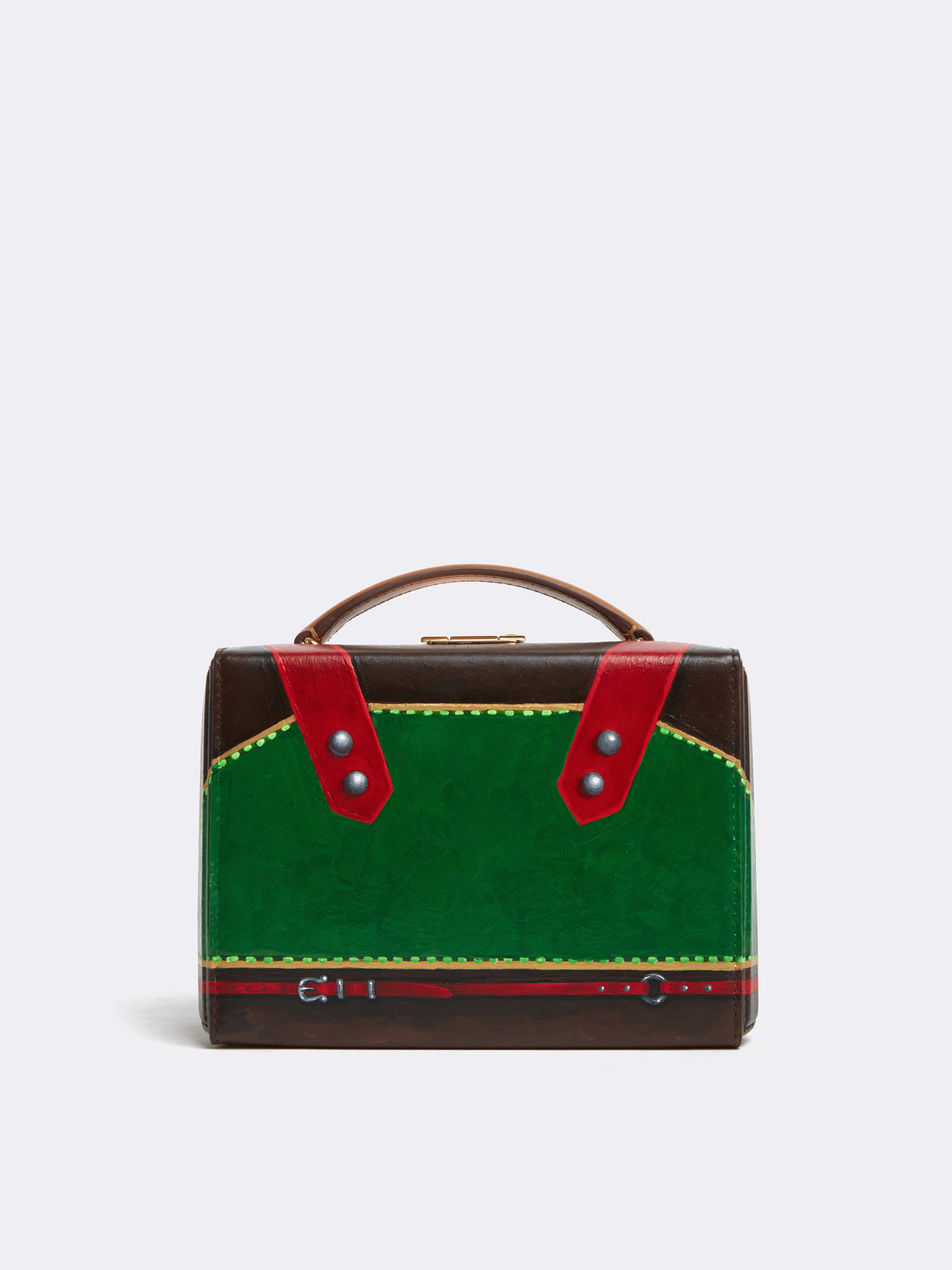 Sophie Matisse x Mark Cross Grace Small Leather Box Bag Smooth Calf Luggage / Red & Green Front