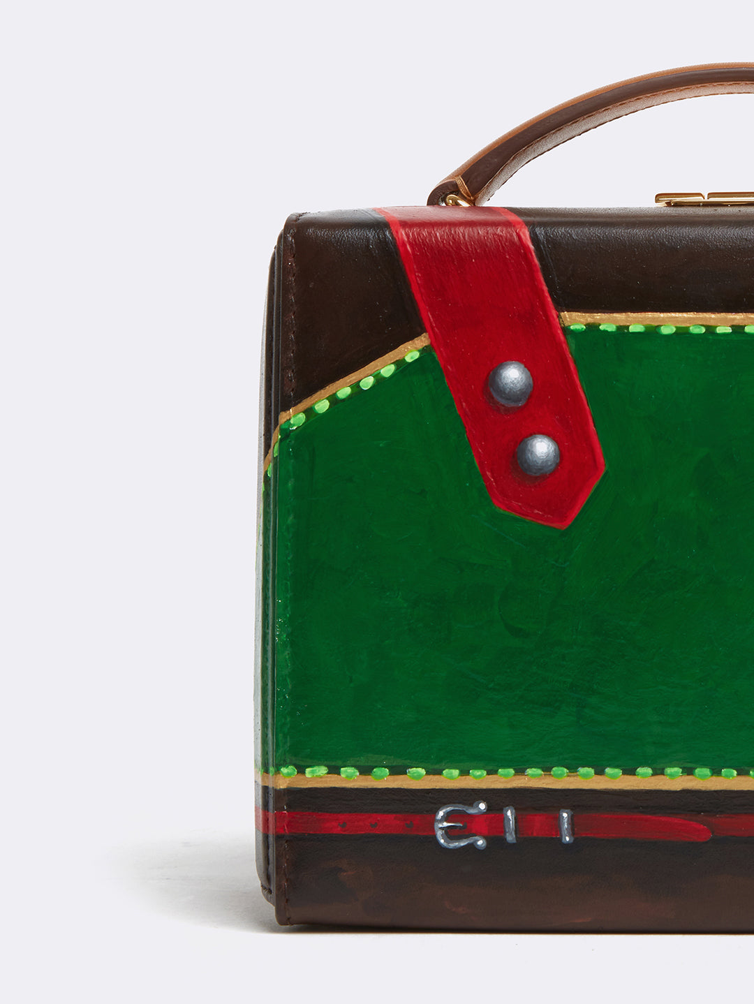 Sophie Matisse x Mark Cross Grace Small Leather Box Bag Smooth Calf Luggage / Red & Green Detail