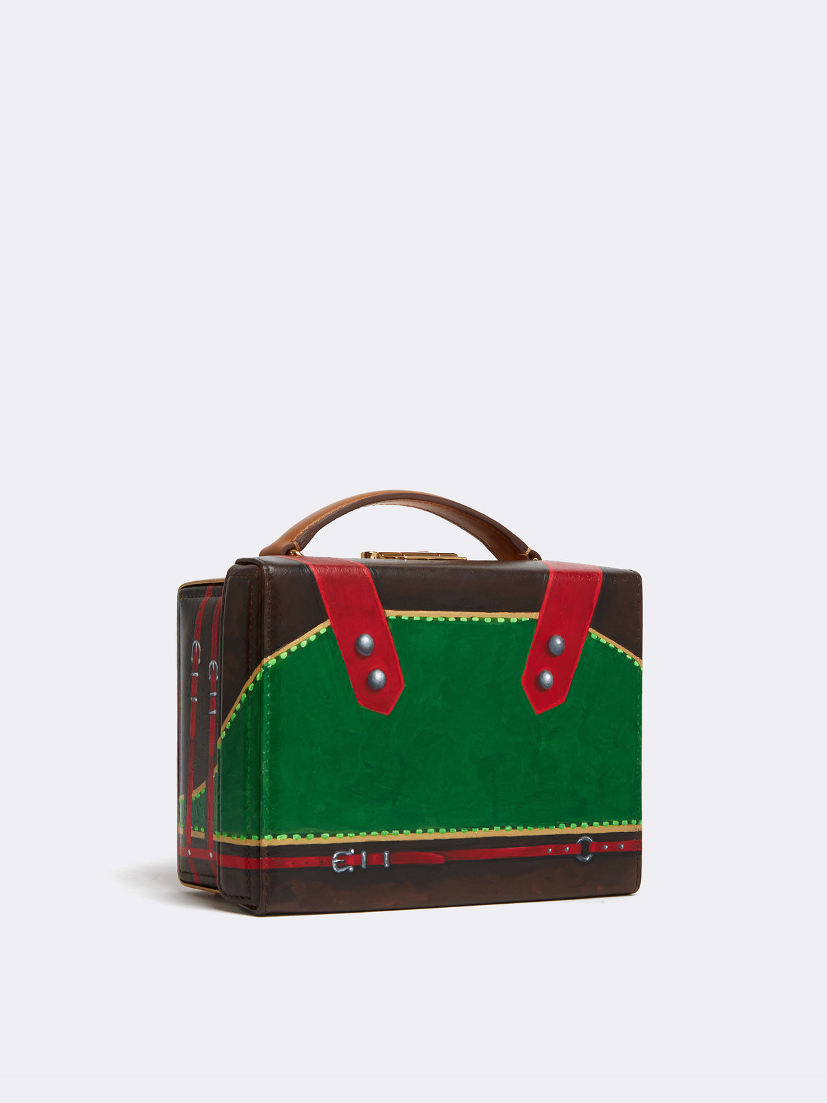 Sophie Matisse x Mark Cross Grace Small Leather Box Bag Smooth Calf Luggage / Red & Green Side
