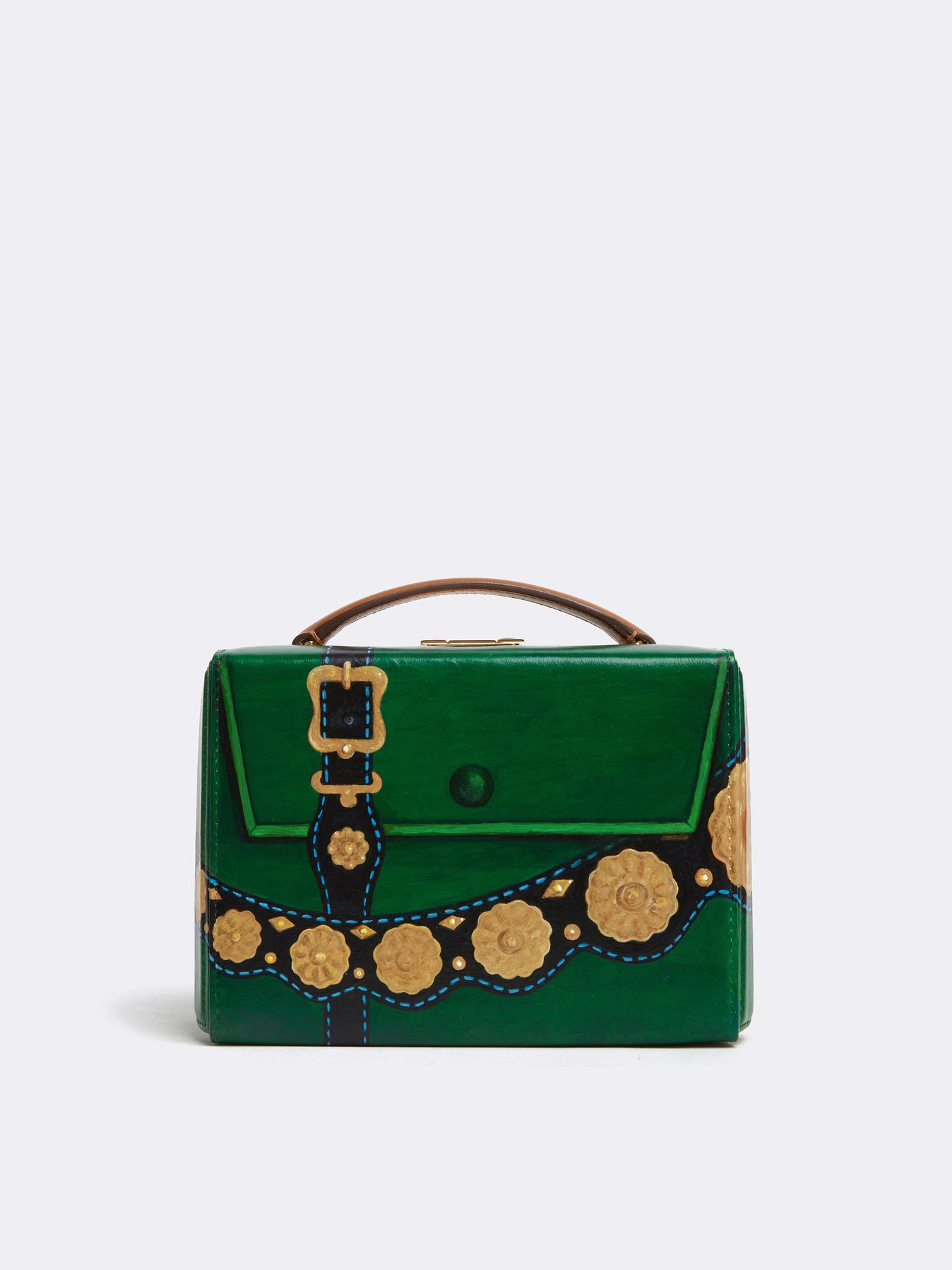 Sophie Matisse x Mark Cross Grace Small Leather Box Bag Smooth Calf Luggage / Yellow & Green Front