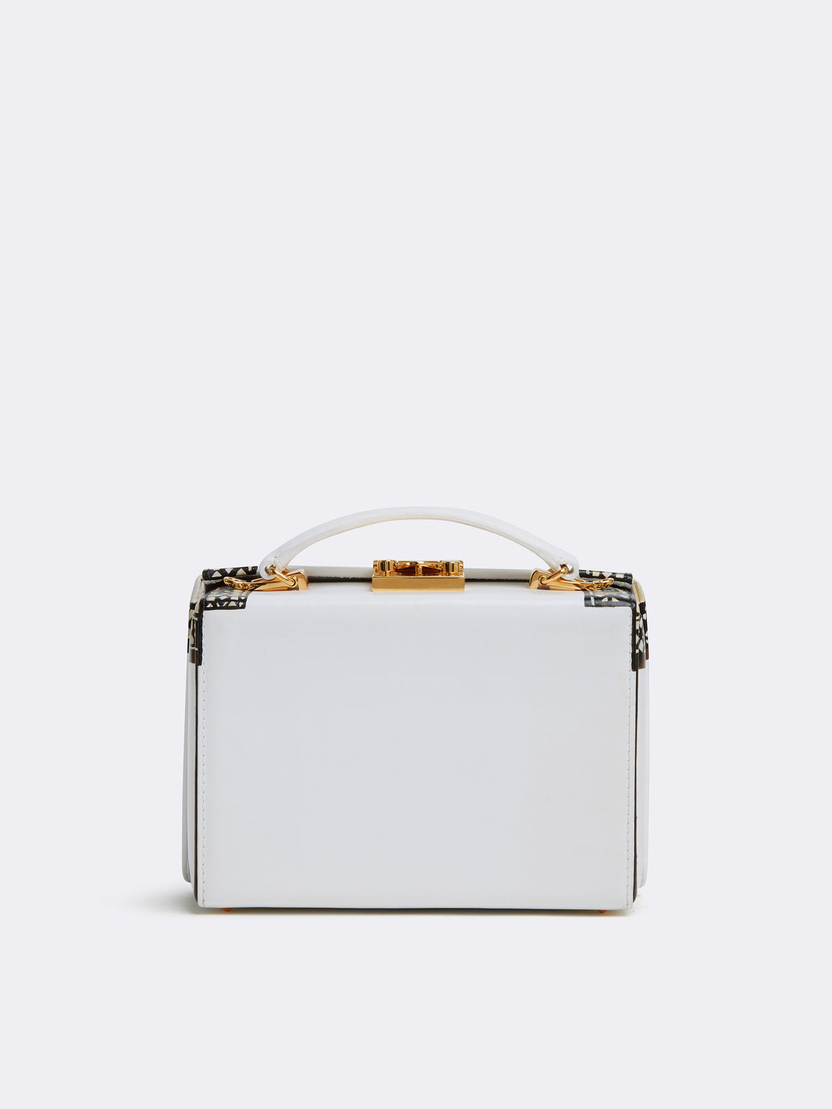 Sophie Matisse x Mark Cross Grace Small Leather Box Bag Smooth Calf White / Black & White Back