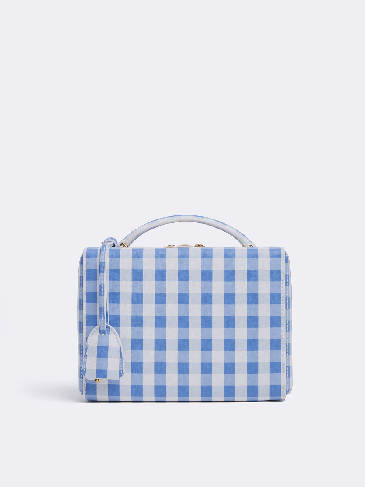 Mark Cross Grace Small Leather Box Bag Mini Franzi Gingham Regatta Blue Front