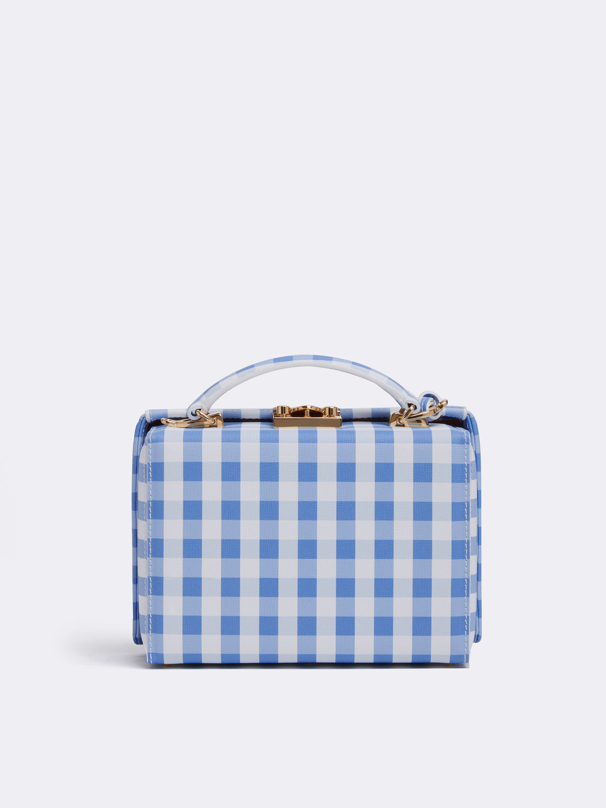 Mark Cross Grace Small Leather Box Bag Mini Franzi Gingham Regatta Blue Back