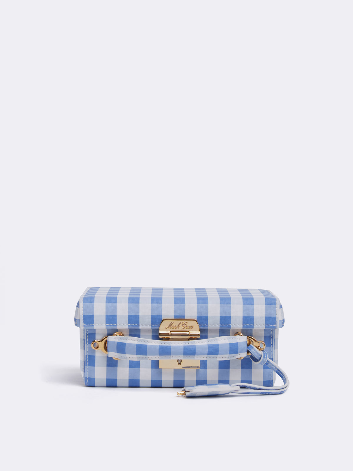 Mark Cross Grace Small Leather Box Bag Mini Franzi Gingham Regatta Blue Side