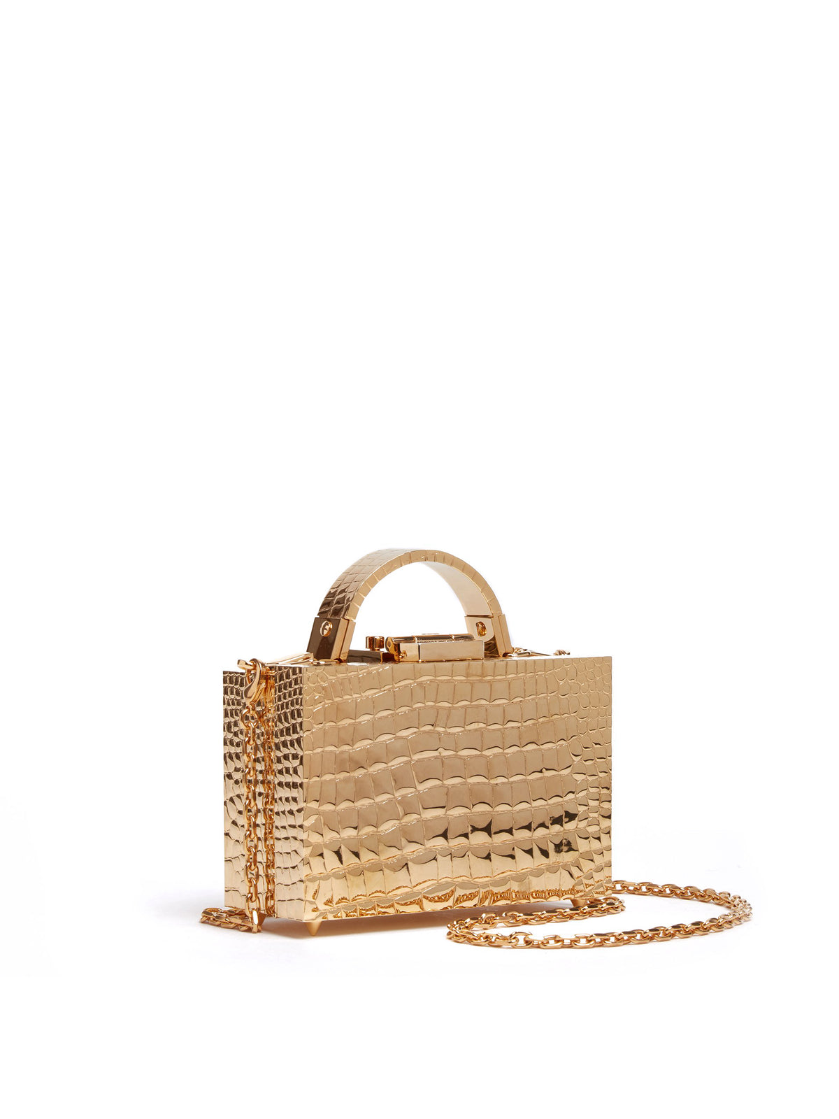 Mark Cross Grace Mini Evening Box Bag Croco Brass Gold Side