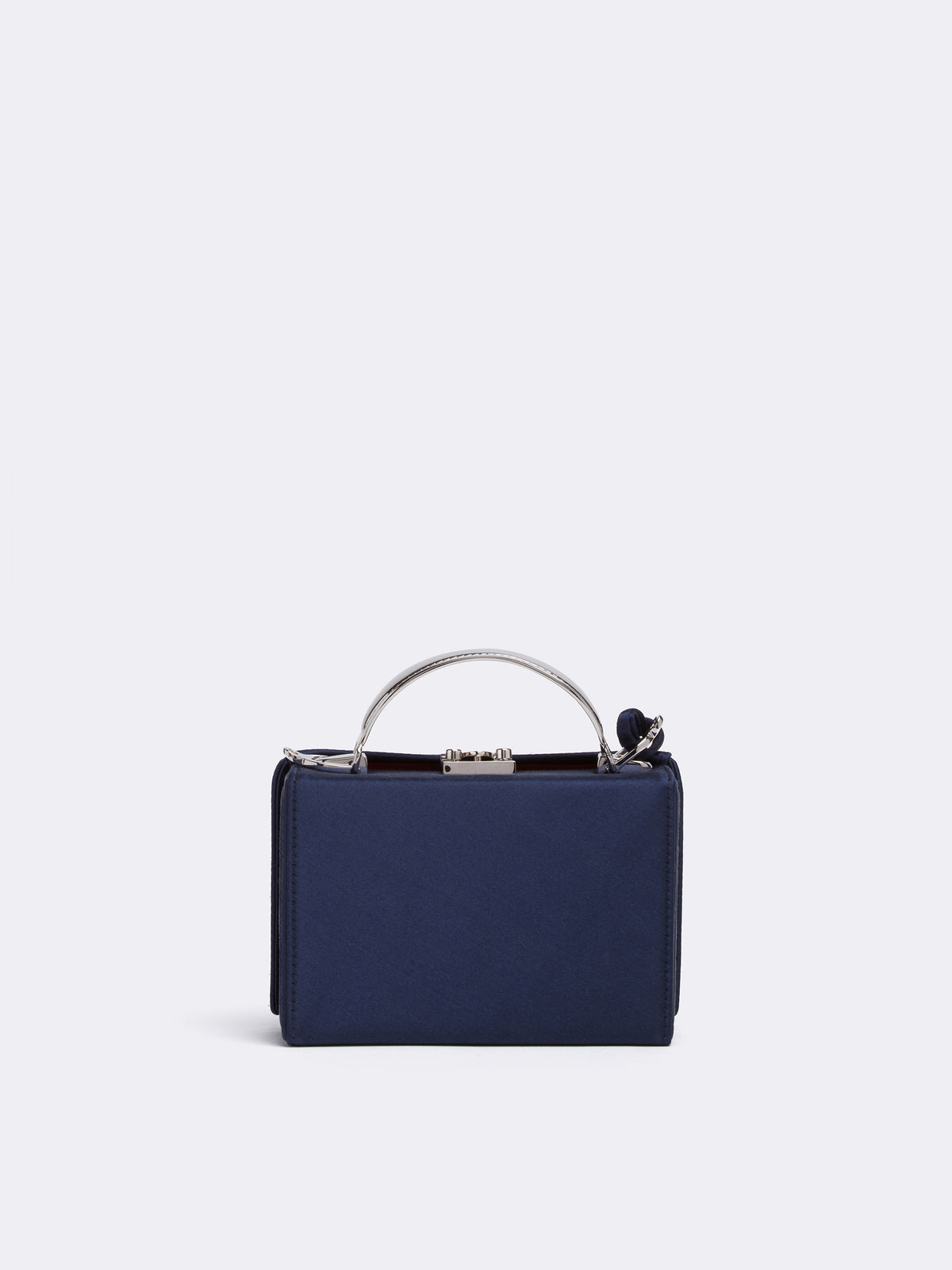 Mark Cross Grace Mini Satin Box Bag Metal Handle Satin Navy Back