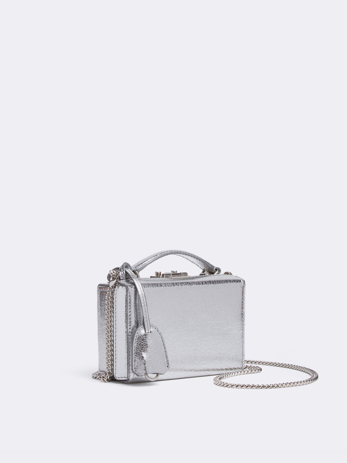 Mark Cross Grace Mini Leather Box Bag Metallic Crackle Silver Side