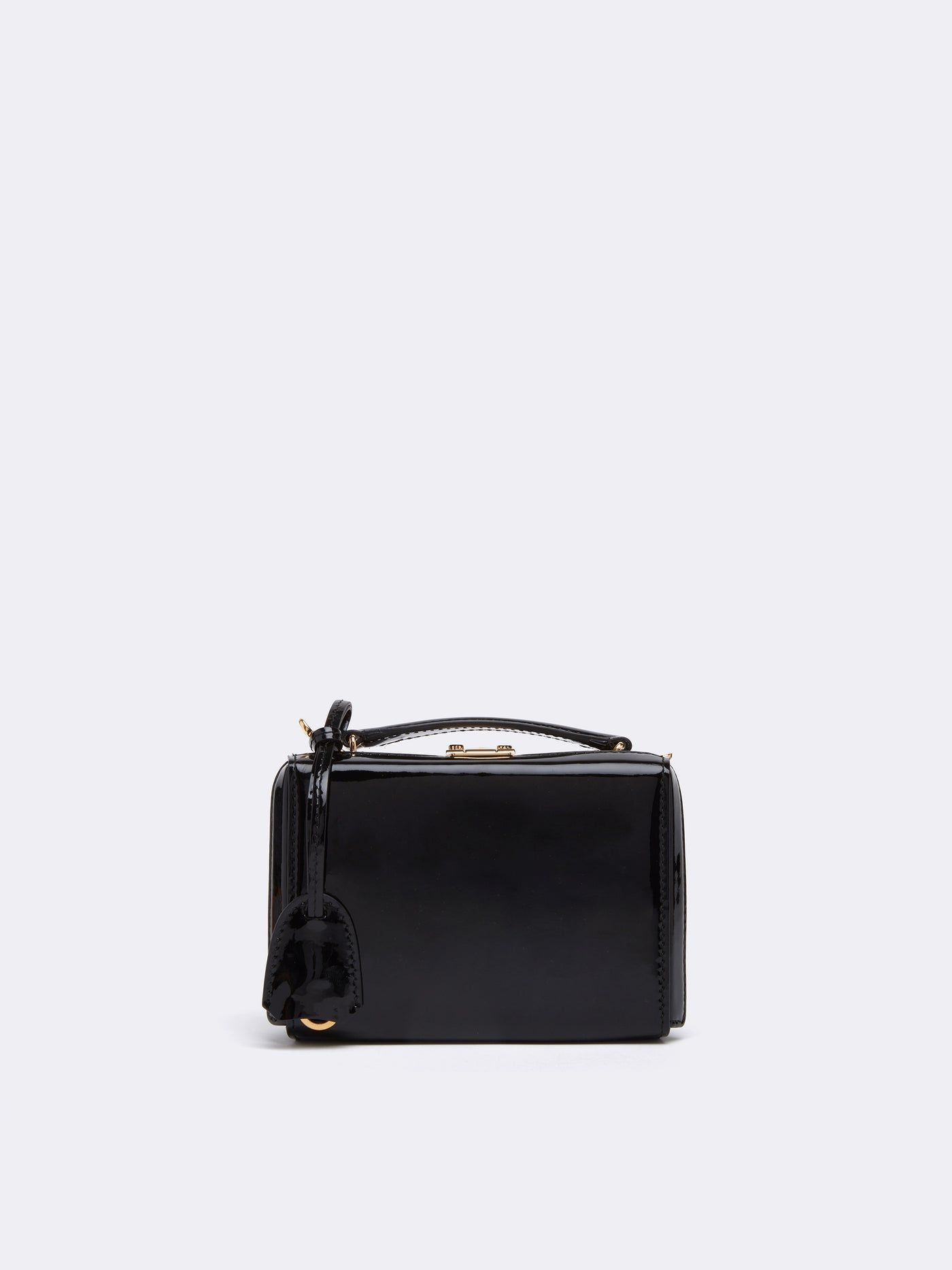 Mark Cross Grace Mini Leather Box Bag Soft Patent Black Front