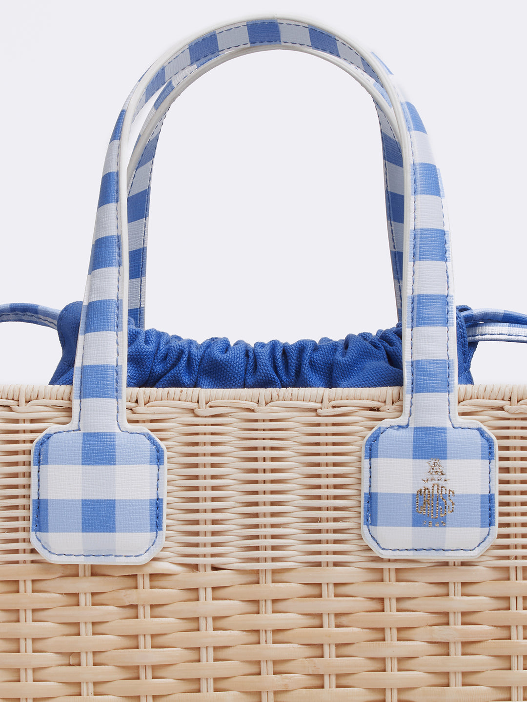 Mark Cross Manray Rattan & Leather Tote Bag Mini Franzi Gingham Regatta Blue / Natural Raffia Detail