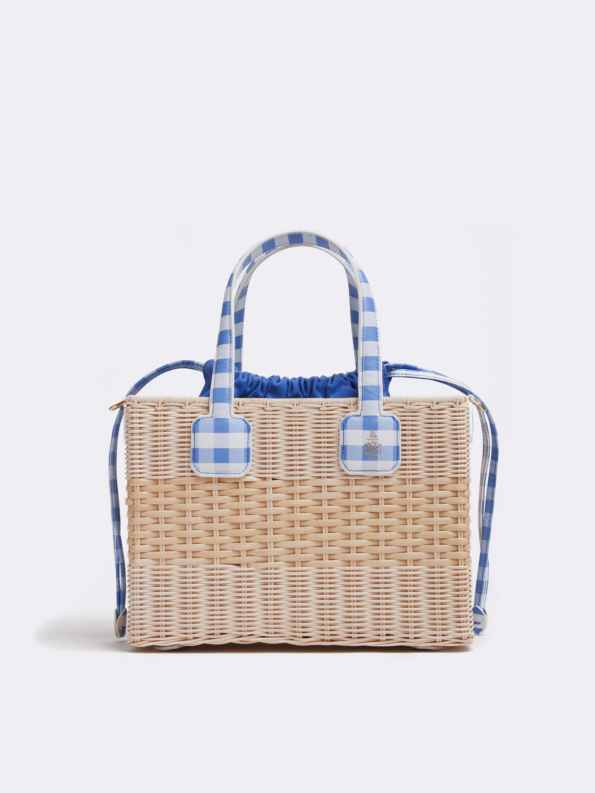 Mark Cross Manray Rattan & Leather Tote Bag Mini Franzi Gingham Regatta Blue / Natural Raffia Front