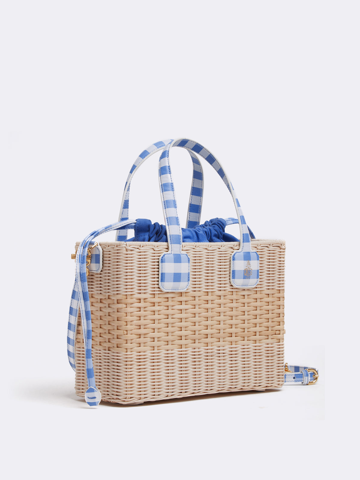 Mark Cross Manray Rattan & Leather Tote Bag Mini Franzi Gingham Regatta Blue / Natural Raffia Side