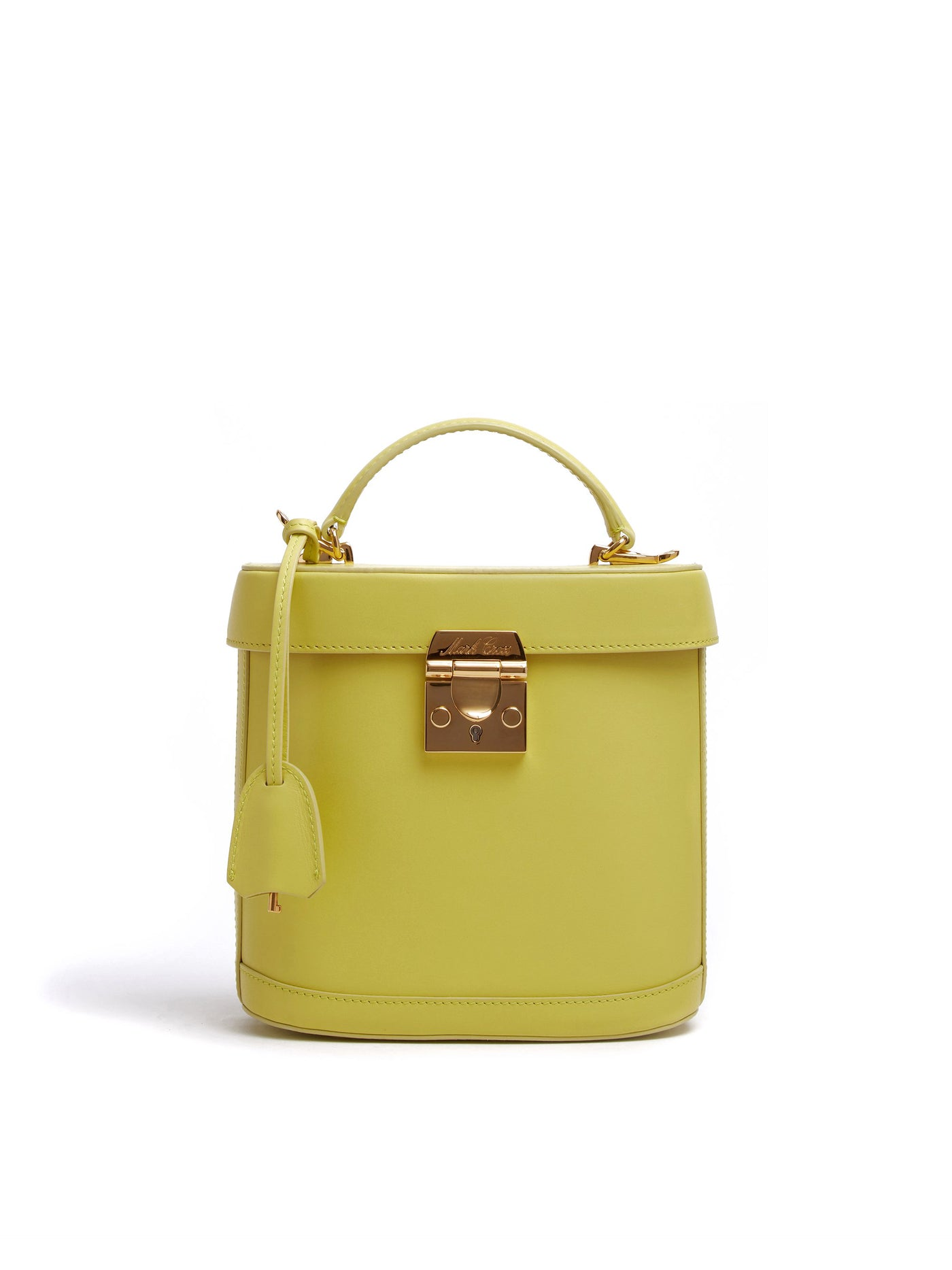 Mark Cross Benchley Leather Top Handle Bag Soft Calf Citron Front