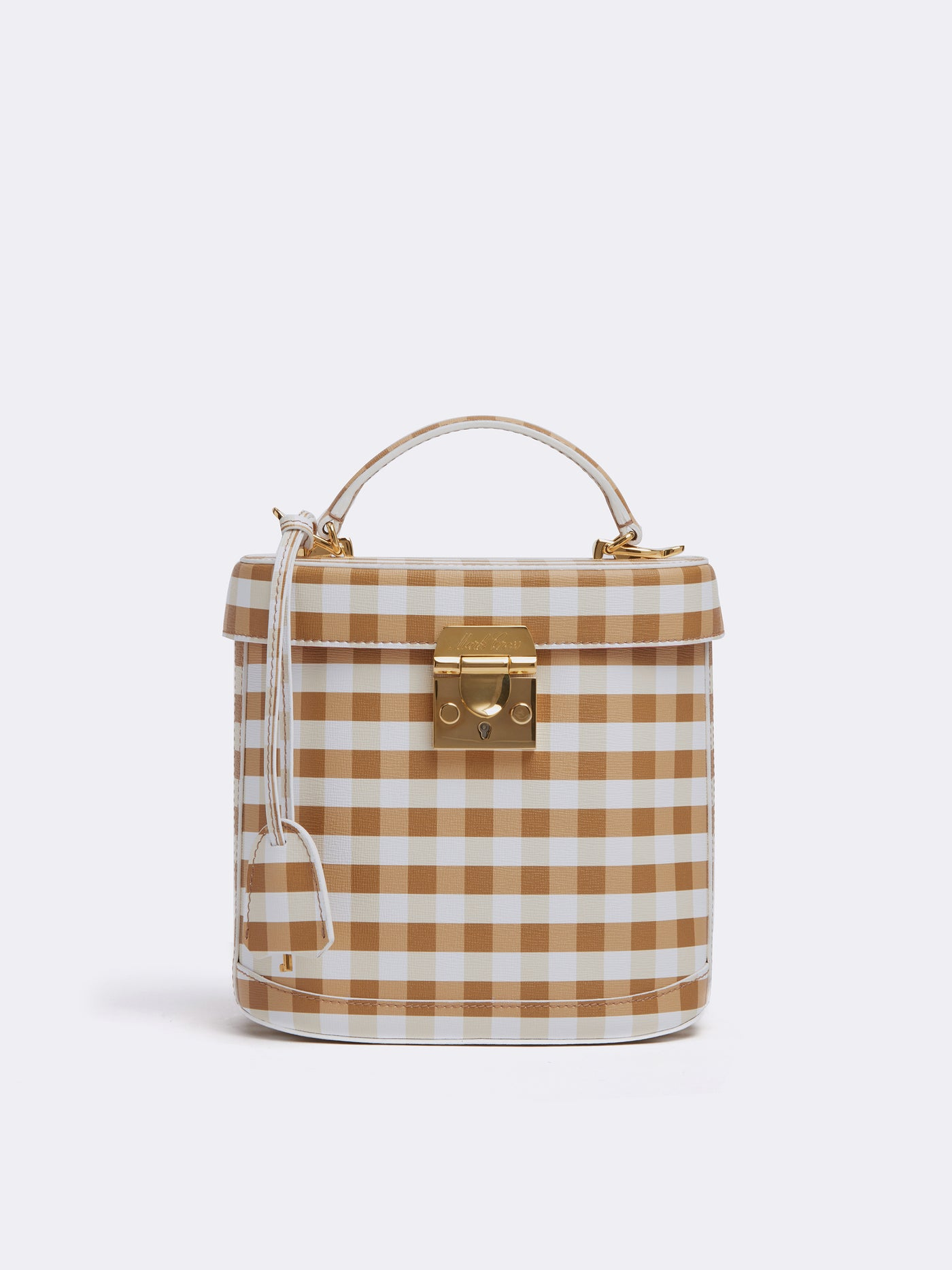 Mark Cross Benchley Leather Top Handle Bag Mini Franzi Gingham Luggage Front