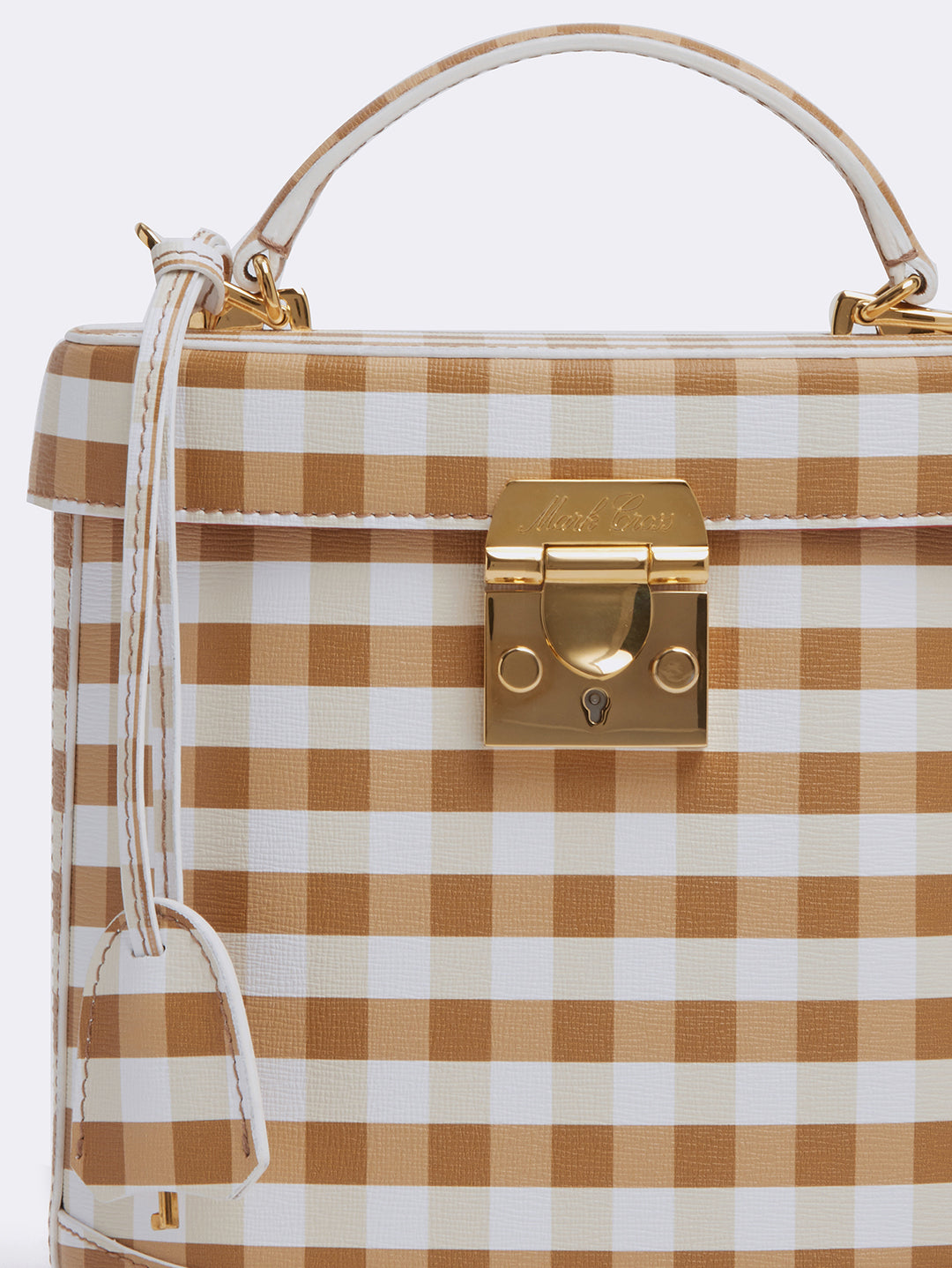 Mark Cross Benchley Leather Top Handle Bag Mini Franzi Gingham Luggage Detail