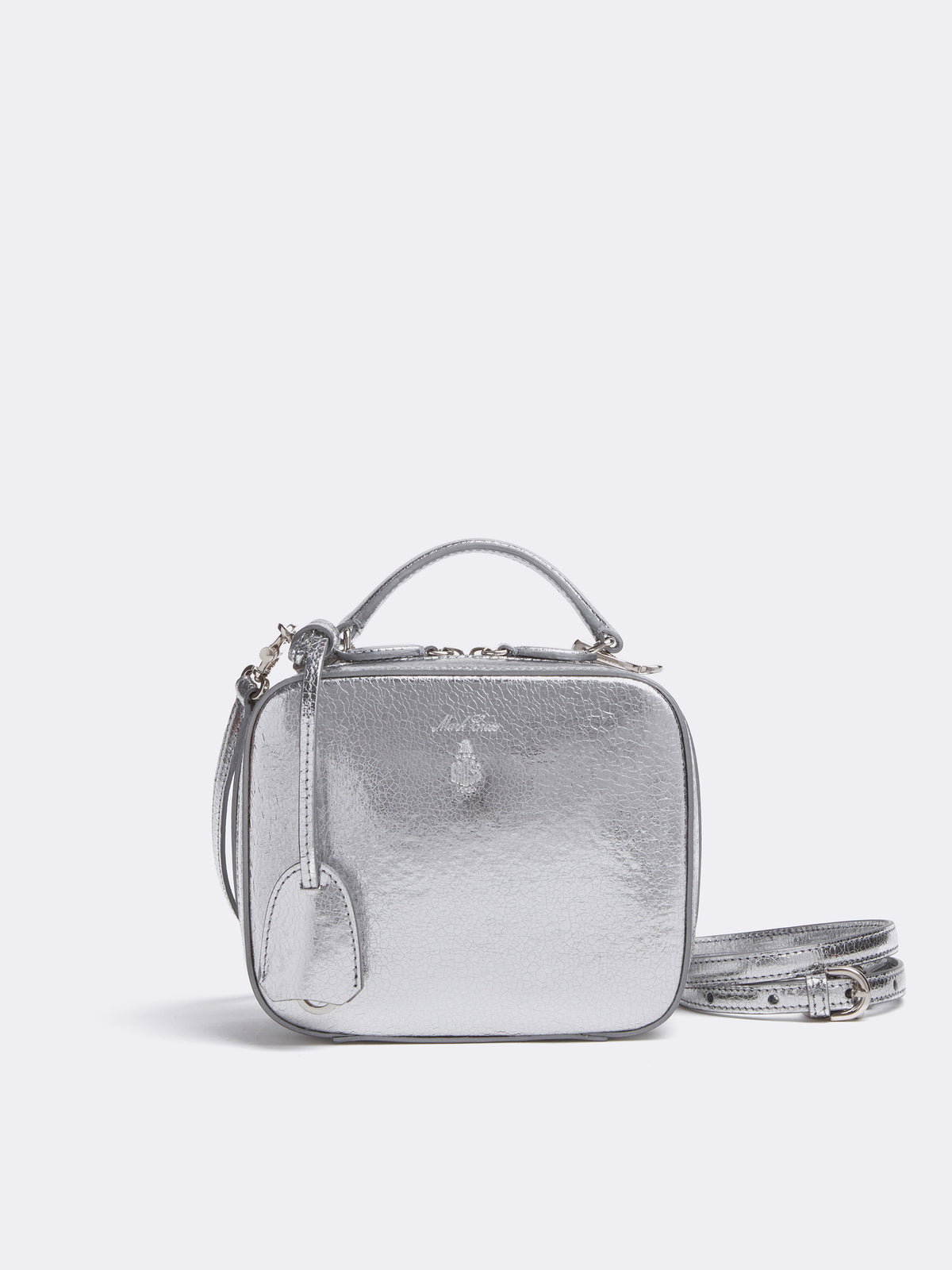 Mark Cross Baby Laura Leather Crossbody Bag Metallic Crackle Silver Front