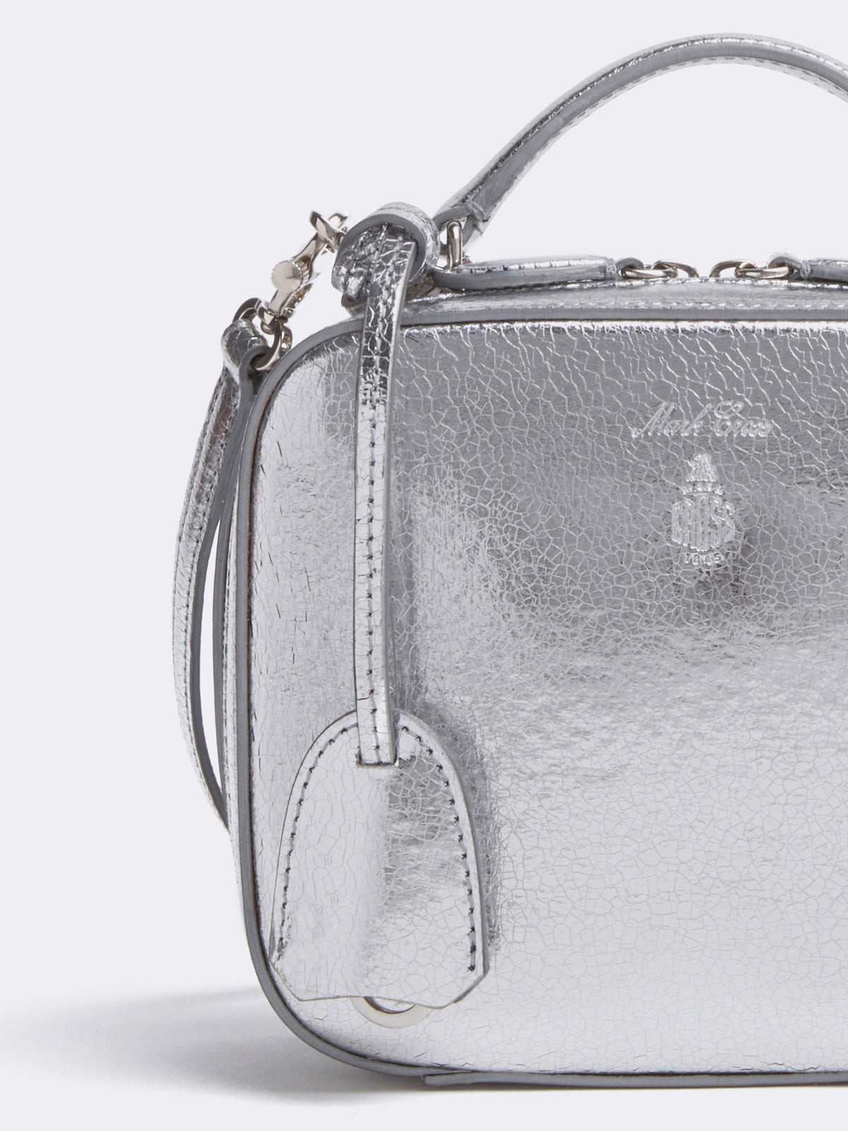 Mark Cross Baby Laura Leather Crossbody Bag Metallic Crackle Silver Detail