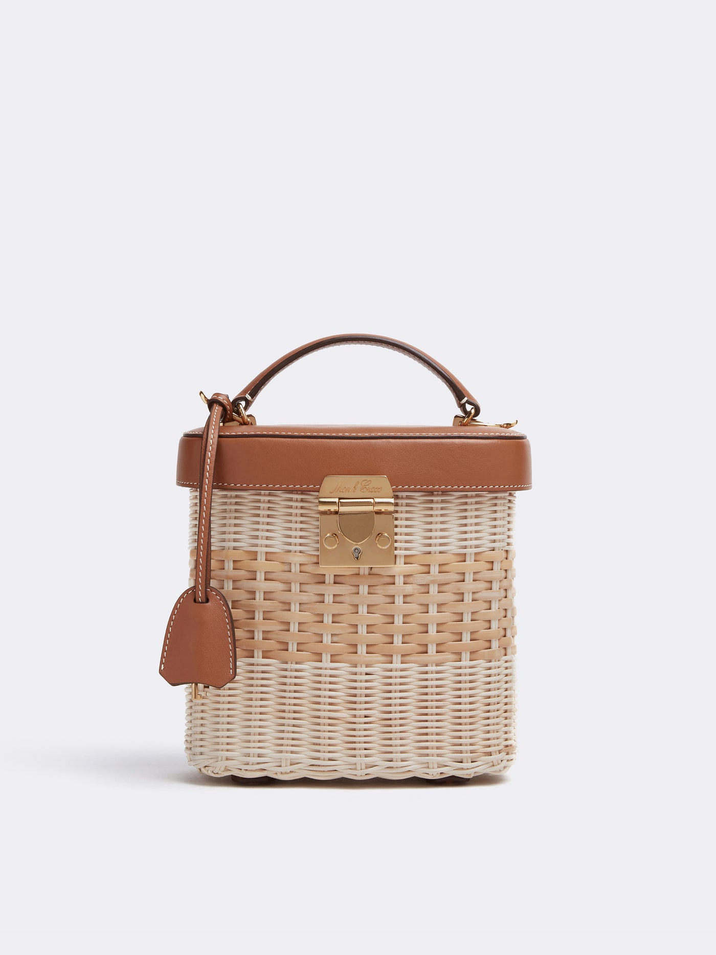 Mark Cross Benchley Rattan & Leather Top Handle Bag Bleach Rattan Smooth Calf Luggage Front