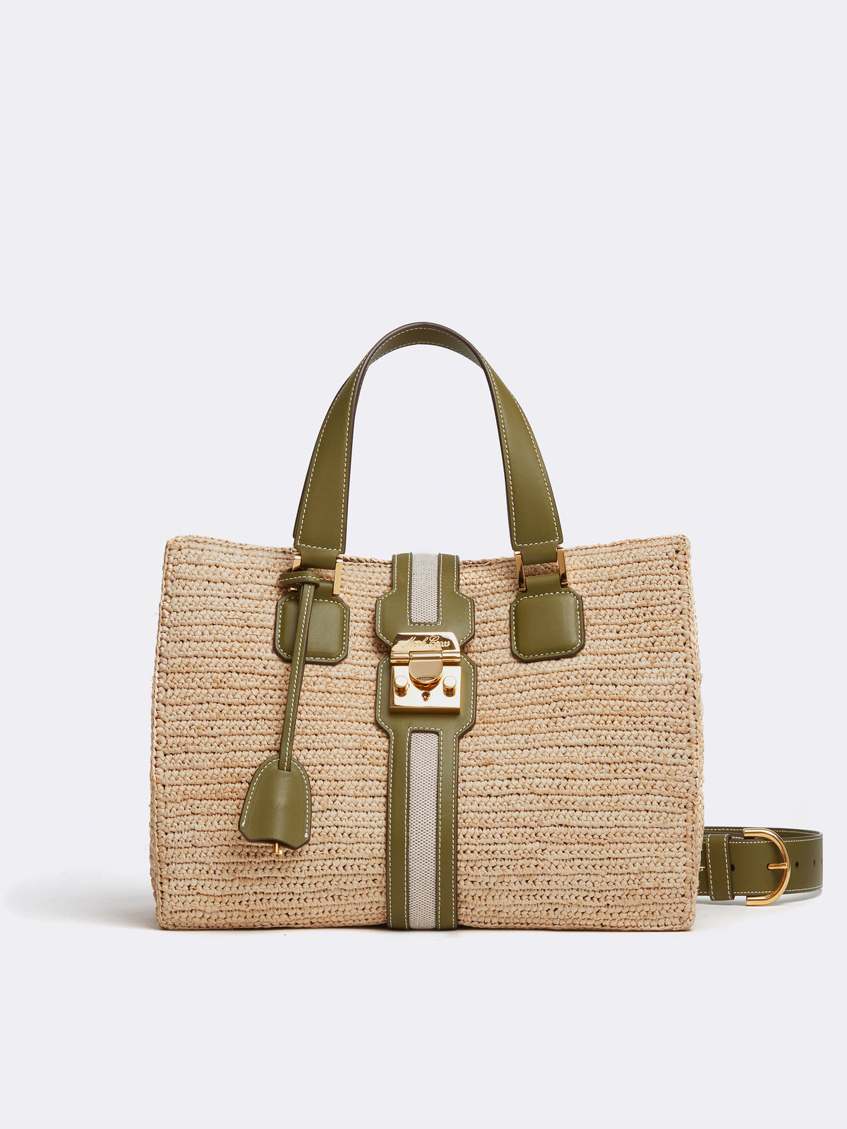 Mark Cross Riviera Raffia & Leather Tote Bag Smooth Calf Avocado / Birdseye / Natural Raffia Front