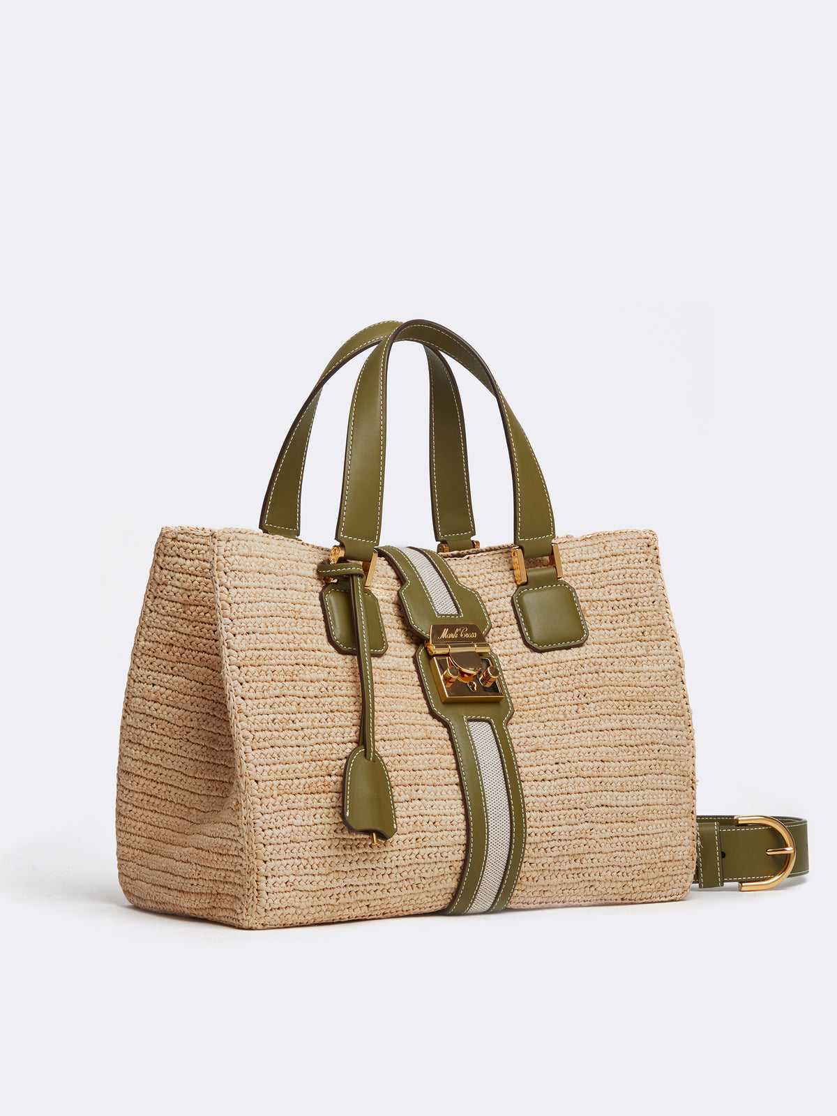 Riviera Raffia & Leather Tote Bag