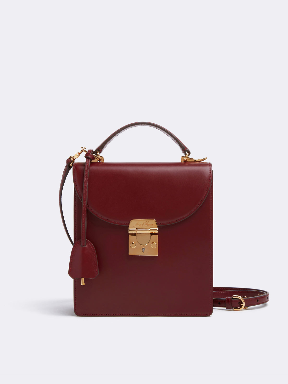 Mark Cross Uptown Leather Crossbody Bag Smooth Calf Burgundy Front