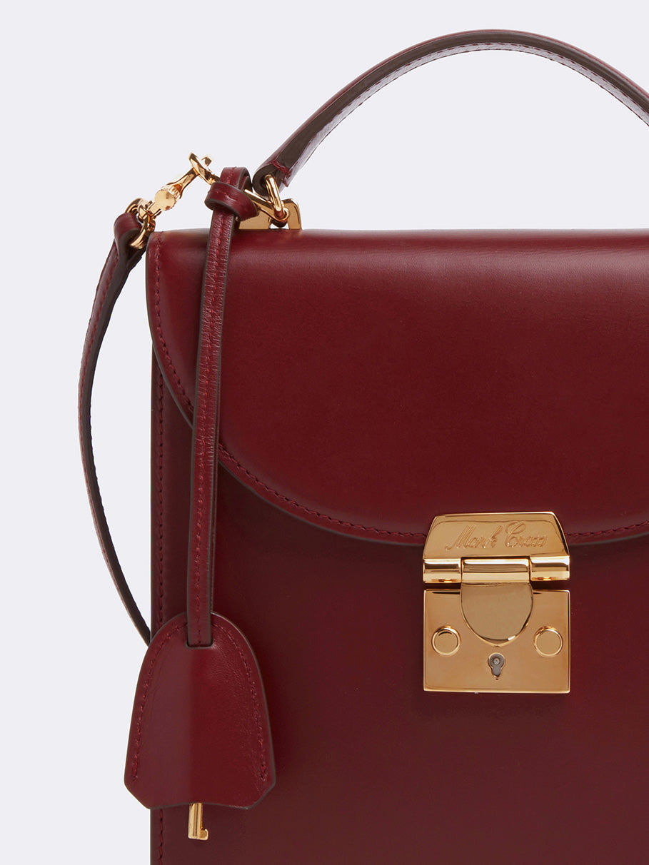 Mark Cross Uptown Leather Crossbody Bag Smooth Calf Burgundy Detail