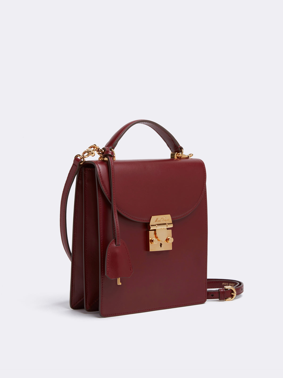 Mark Cross Uptown Leather Crossbody Bag Smooth Calf Burgundy Side