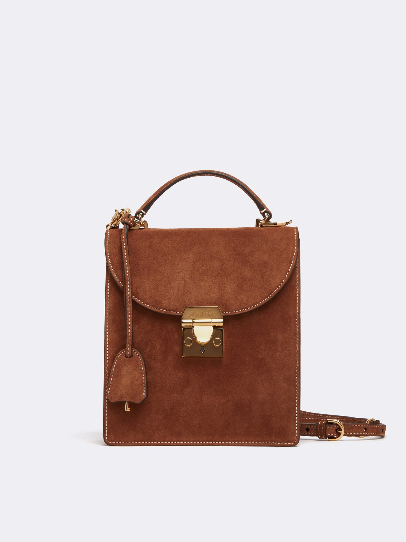 Mark Cross Uptown Suede Crossbody Bag Suede Acorn Front