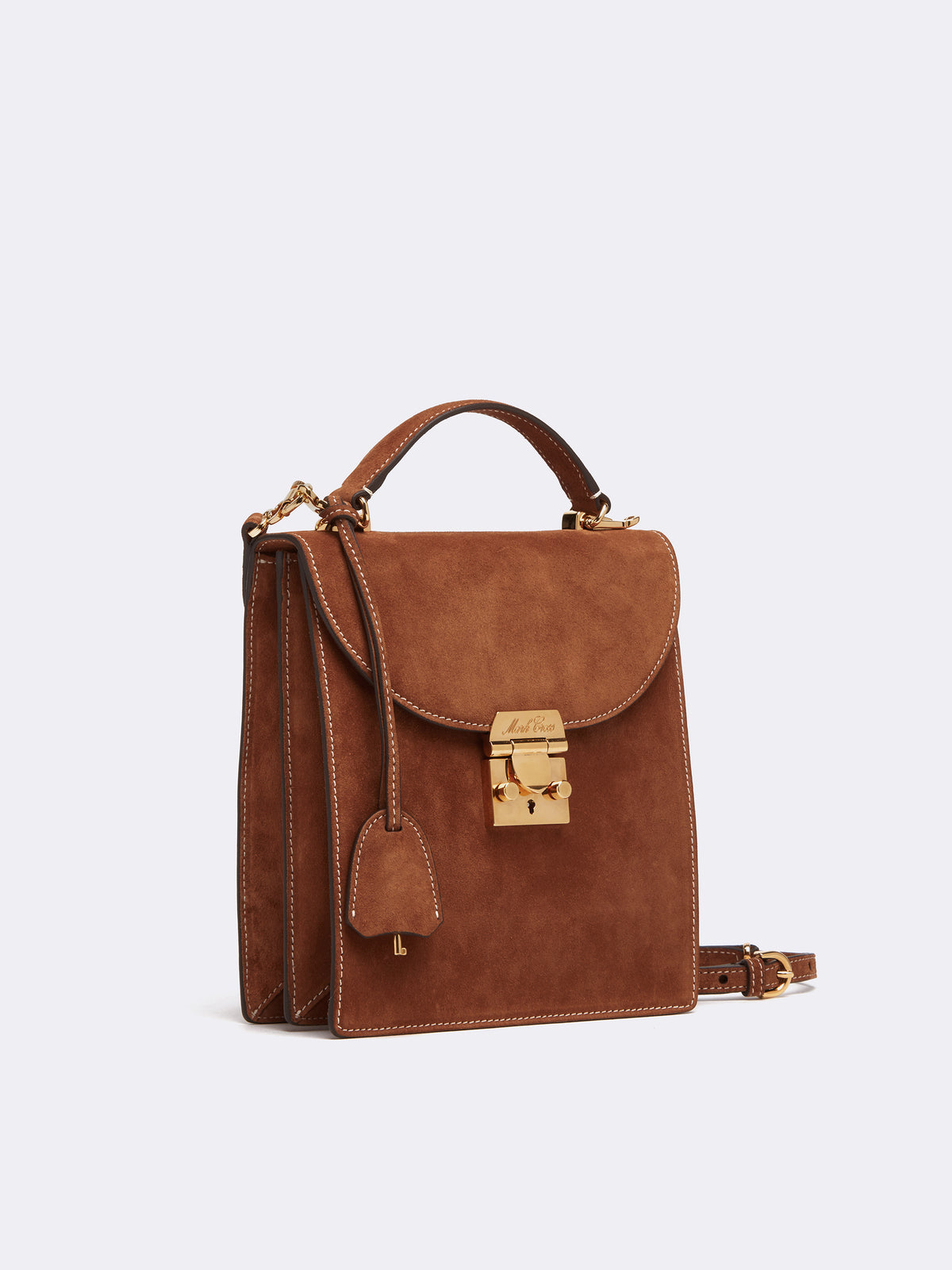 Mark Cross Uptown Suede Crossbody Bag Suede Acorn Side