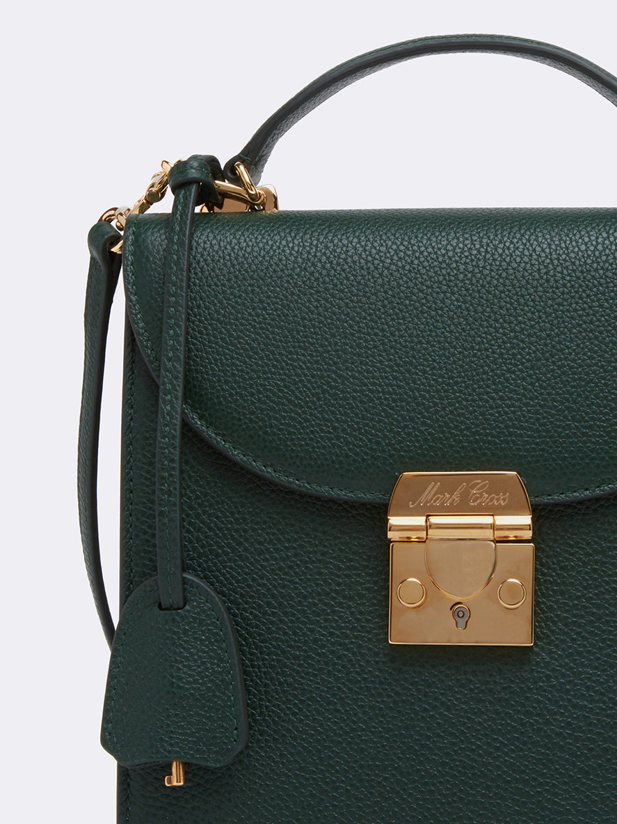 Mark Cross Uptown Leather Crossbody Bag Tumbled Grain Evergreen Detail