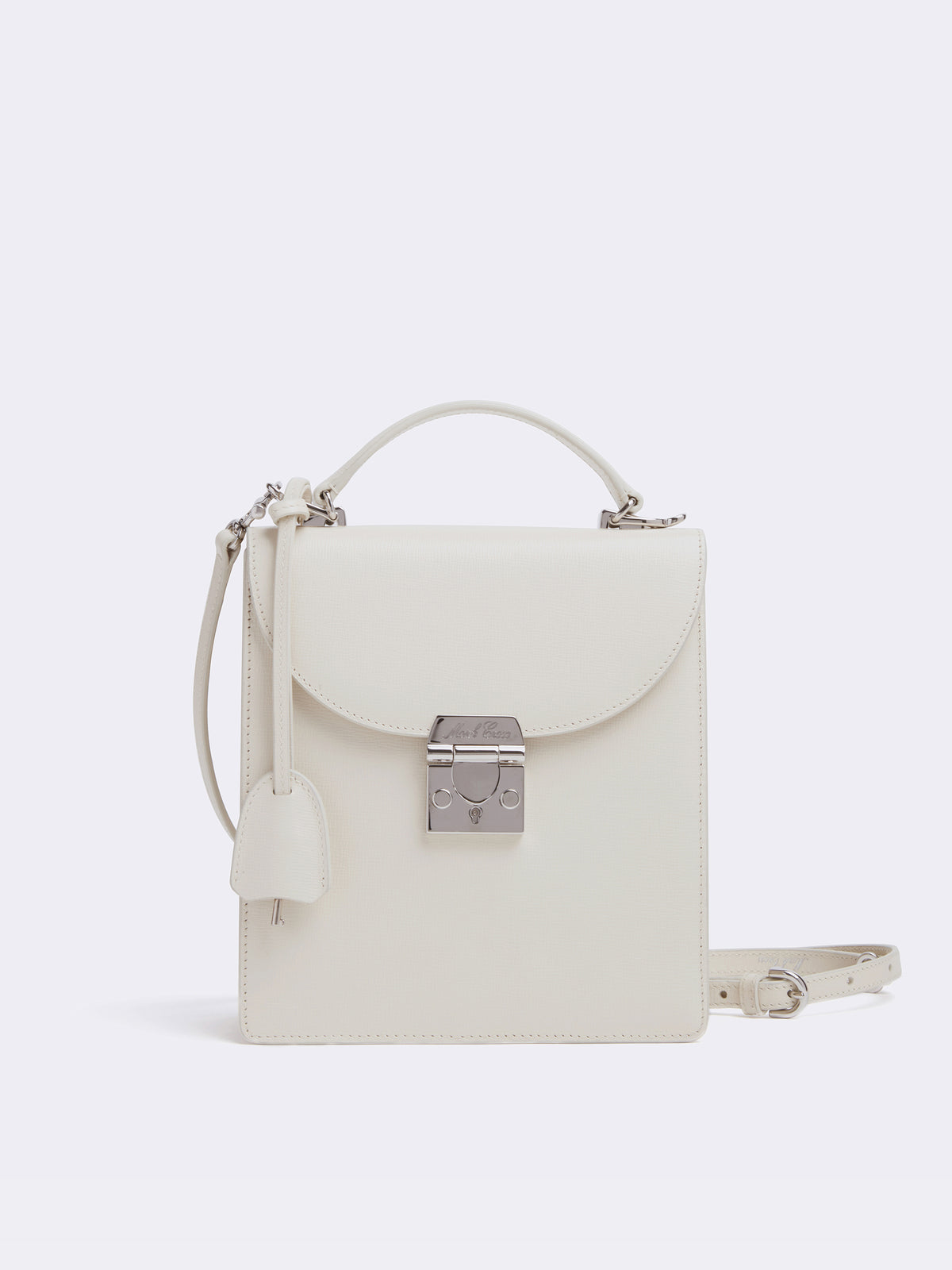 Mark Cross Uptown Leather Crossbody Bag Mini Franzi Winter White Front