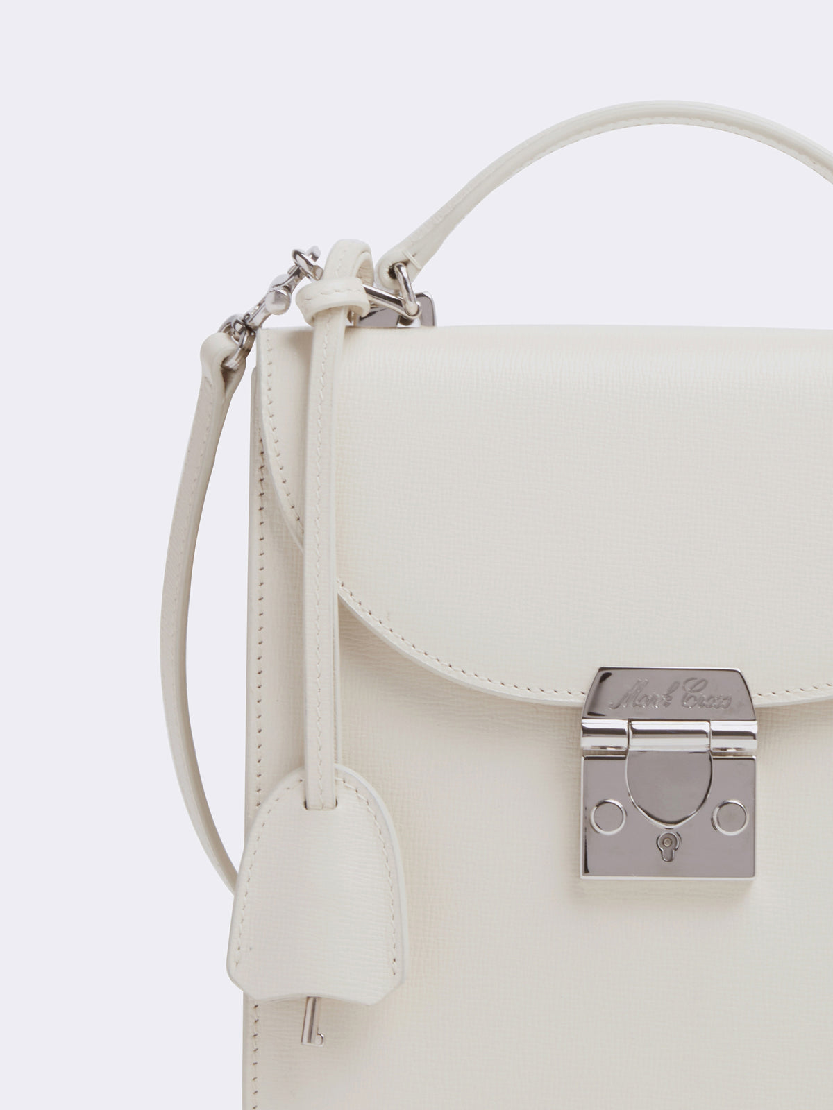 Mark Cross Uptown Leather Crossbody Bag Mini Franzi Winter White Detail