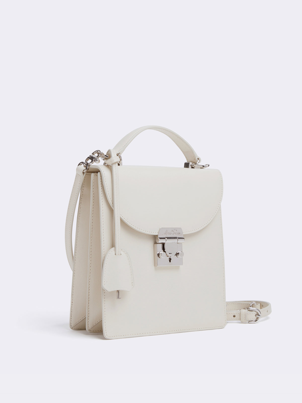 Mark Cross Uptown Leather Crossbody Bag Mini Franzi Winter White Side
