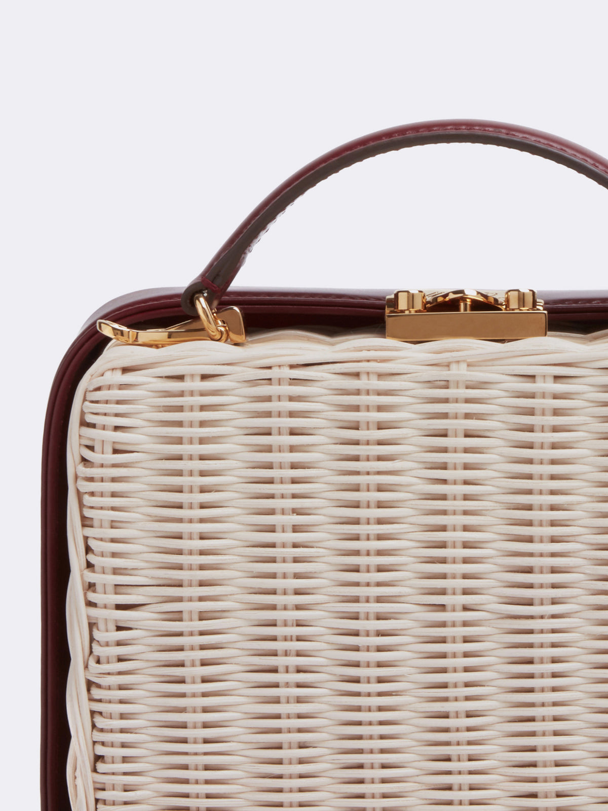 Mark Cross Grace Small Rattan & Leather Box Bag Bleach Rattan Smooth Calf Burgundy Detail