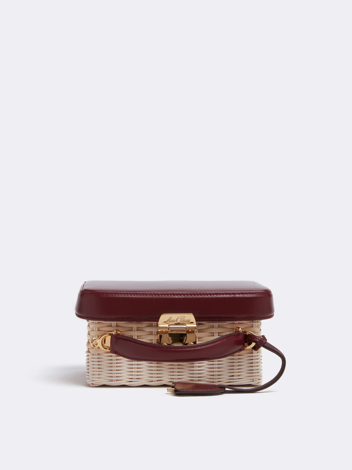 Mark Cross Grace Small Rattan & Leather Box Bag Bleach Rattan Smooth Calf Burgundy Side