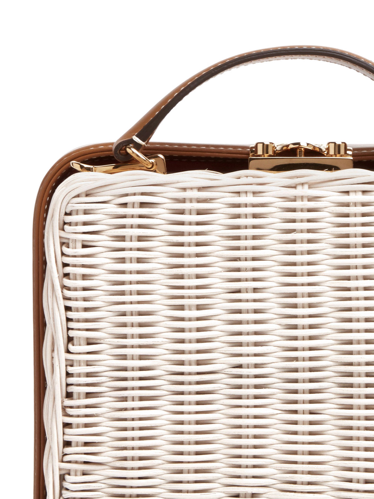 Mark Cross Grace Small Rattan & Leather Box Bag Bleach Rattan / Smooth Calf Luggage Detail