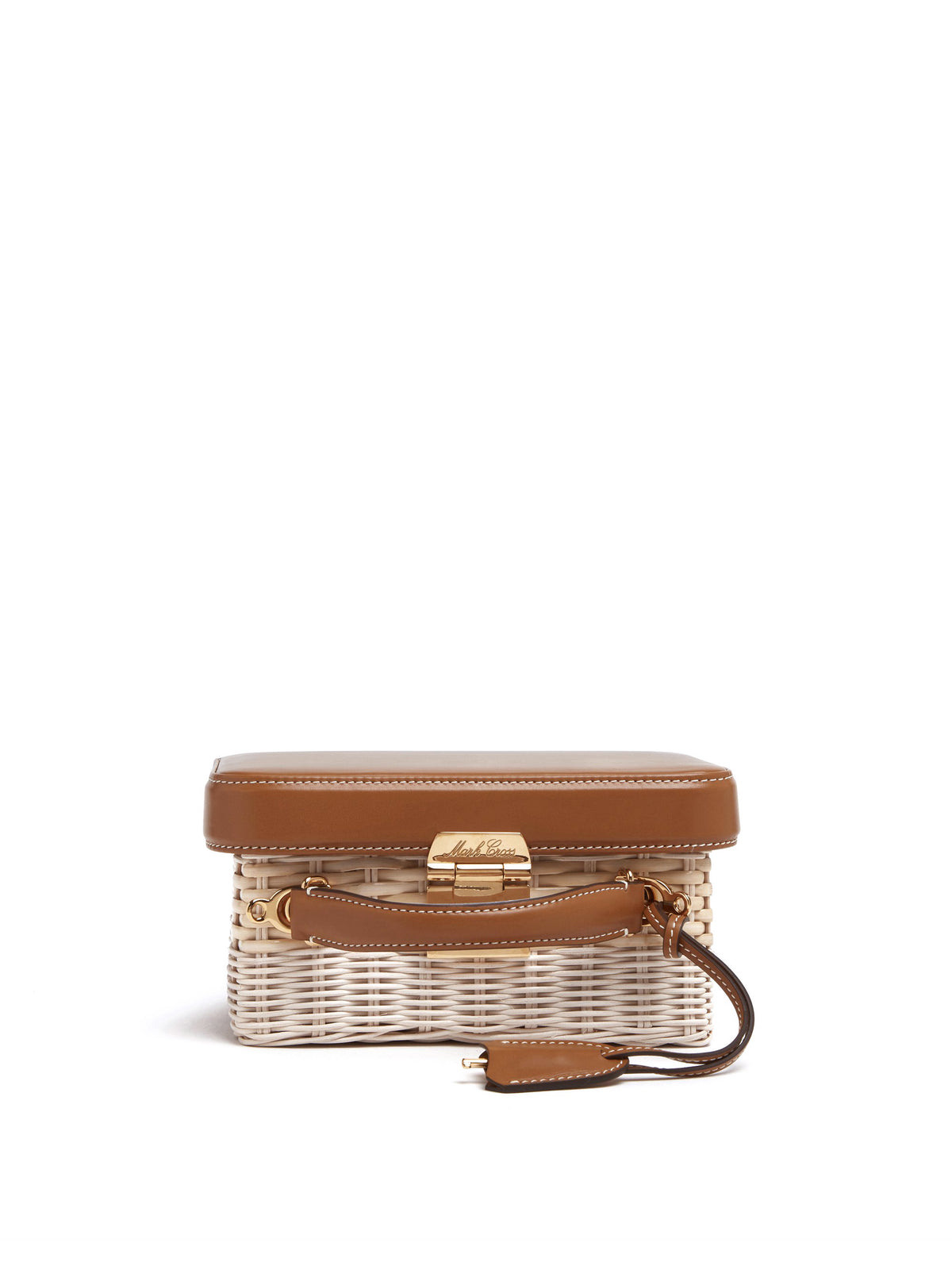 Mark Cross Grace Small Rattan & Leather Box Bag Bleach Rattan / Smooth Calf Luggage Side