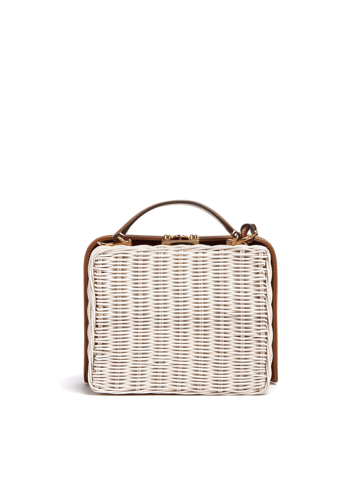 Mark Cross Grace Small Rattan & Leather Box Bag Bleach Rattan / Smooth Calf Luggage Back