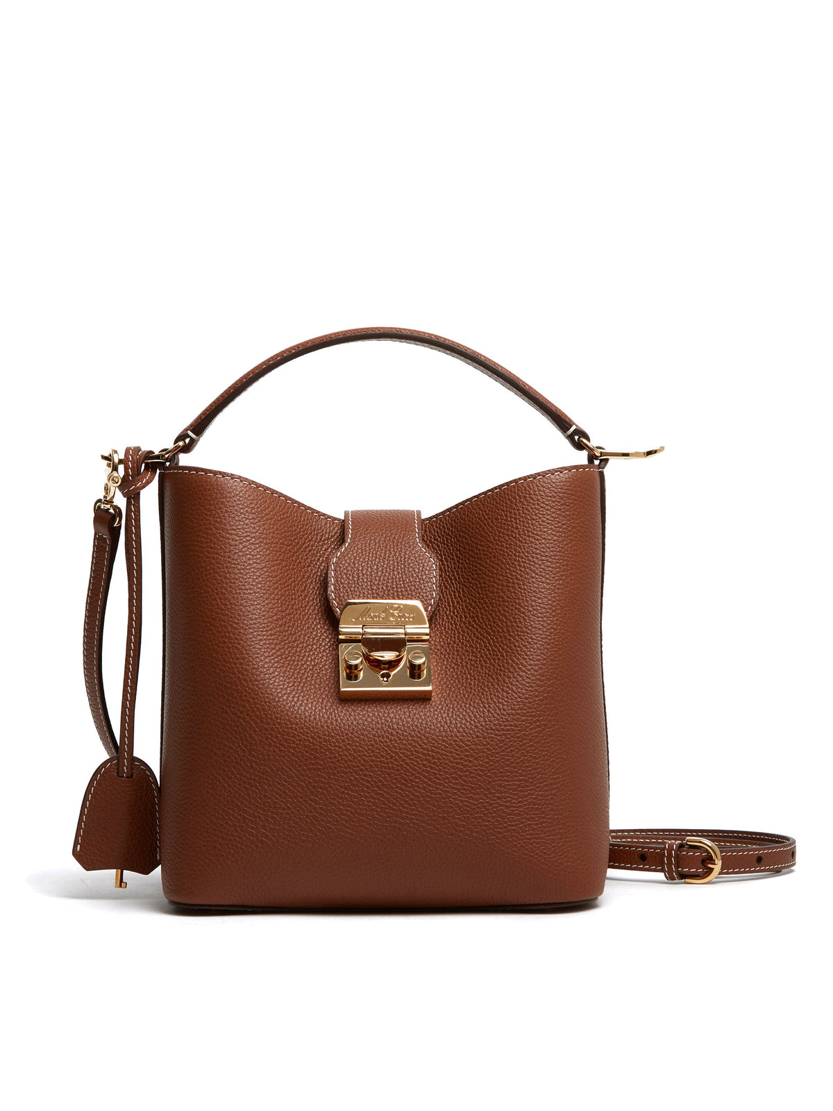 Mark Cross Murphy Small Leather Bucket Bag Tumbled Grain Acorn Front