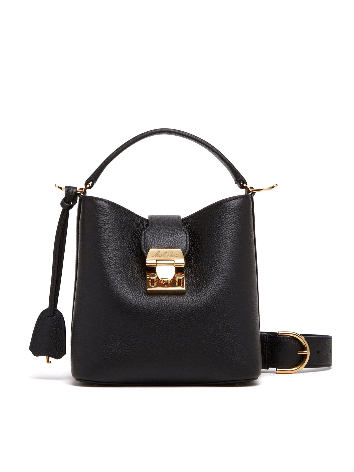 Mark Cross Murphy Small Leather Bucket Bag Tumbled Grain Black Front
