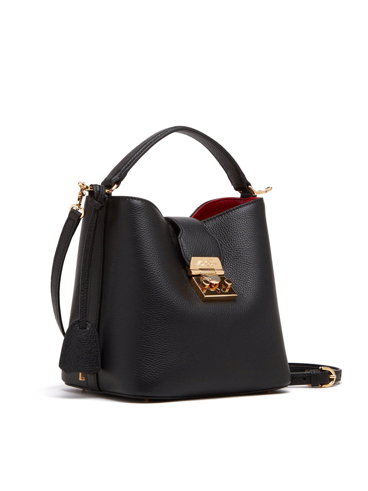 Mark Cross Murphy Small Leather Bucket Bag Tumbled Grain Black Side