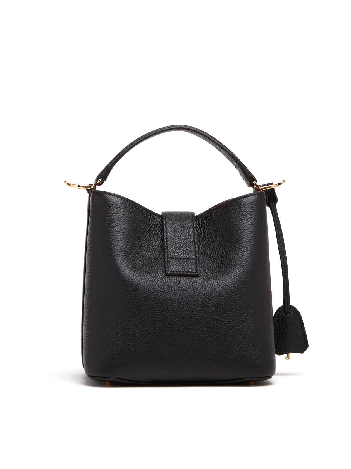 Mark Cross Murphy Small Leather Bucket Bag Tumbled Grain Black Back