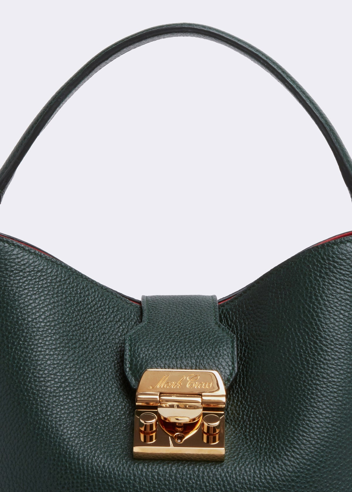 Mark Cross Murphy Small Leather Bucket Bag Tumbled Grain Evergreen Detail
