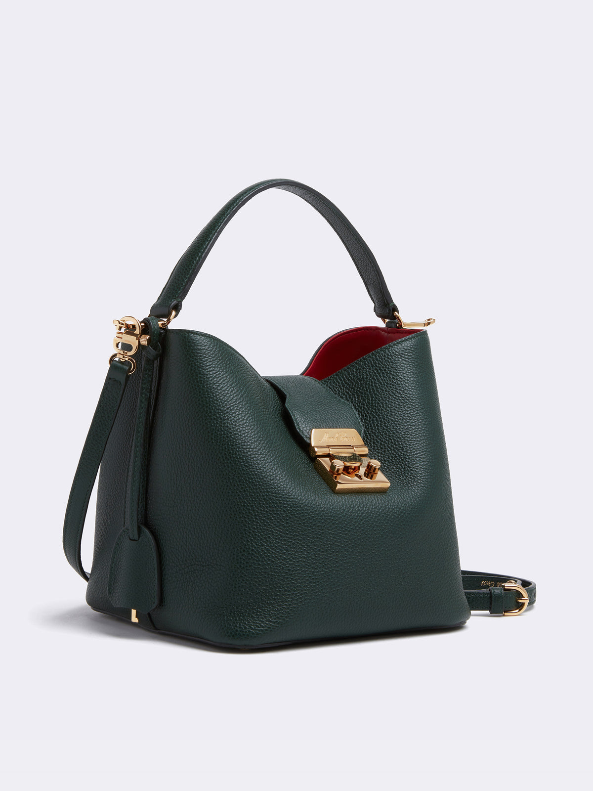 Mark Cross Murphy Small Leather Bucket Bag Tumbled Grain Evergreen Side
