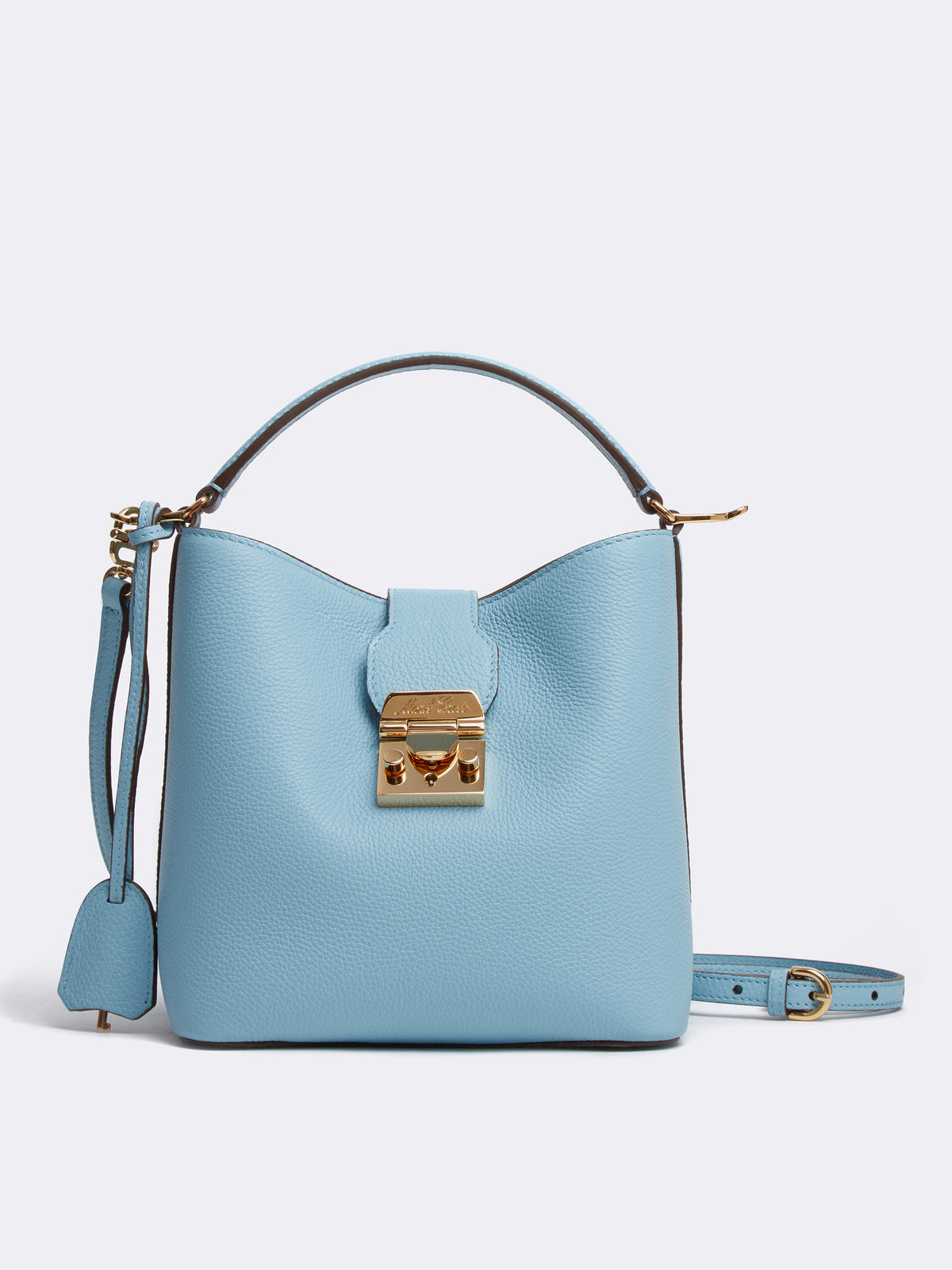 Mark Cross Murphy Small Leather Bucket Bag Tumbled Grain Powder Blue Front