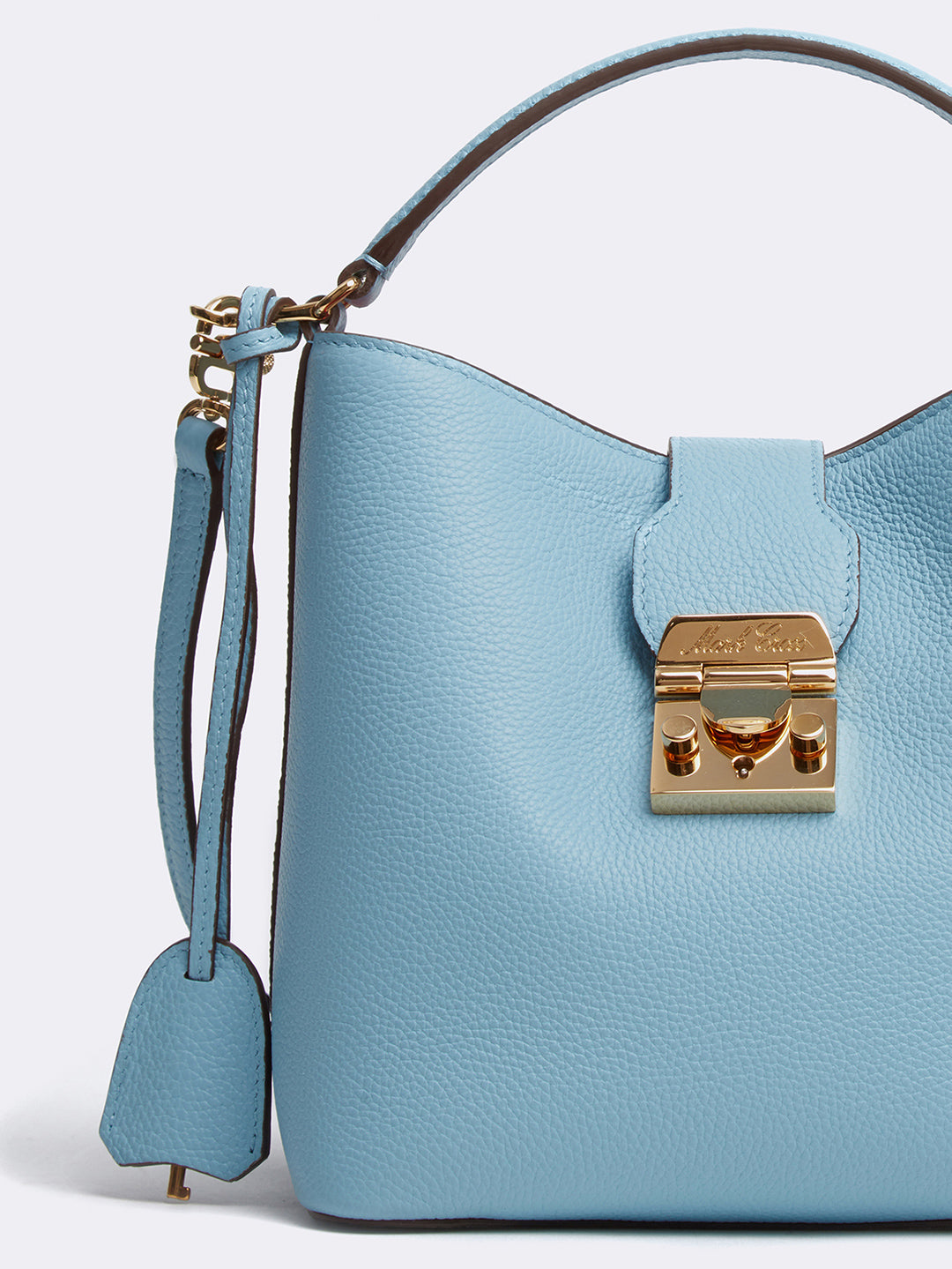 Mark Cross Murphy Small Leather Bucket Bag Tumbled Grain Powder Blue Detail