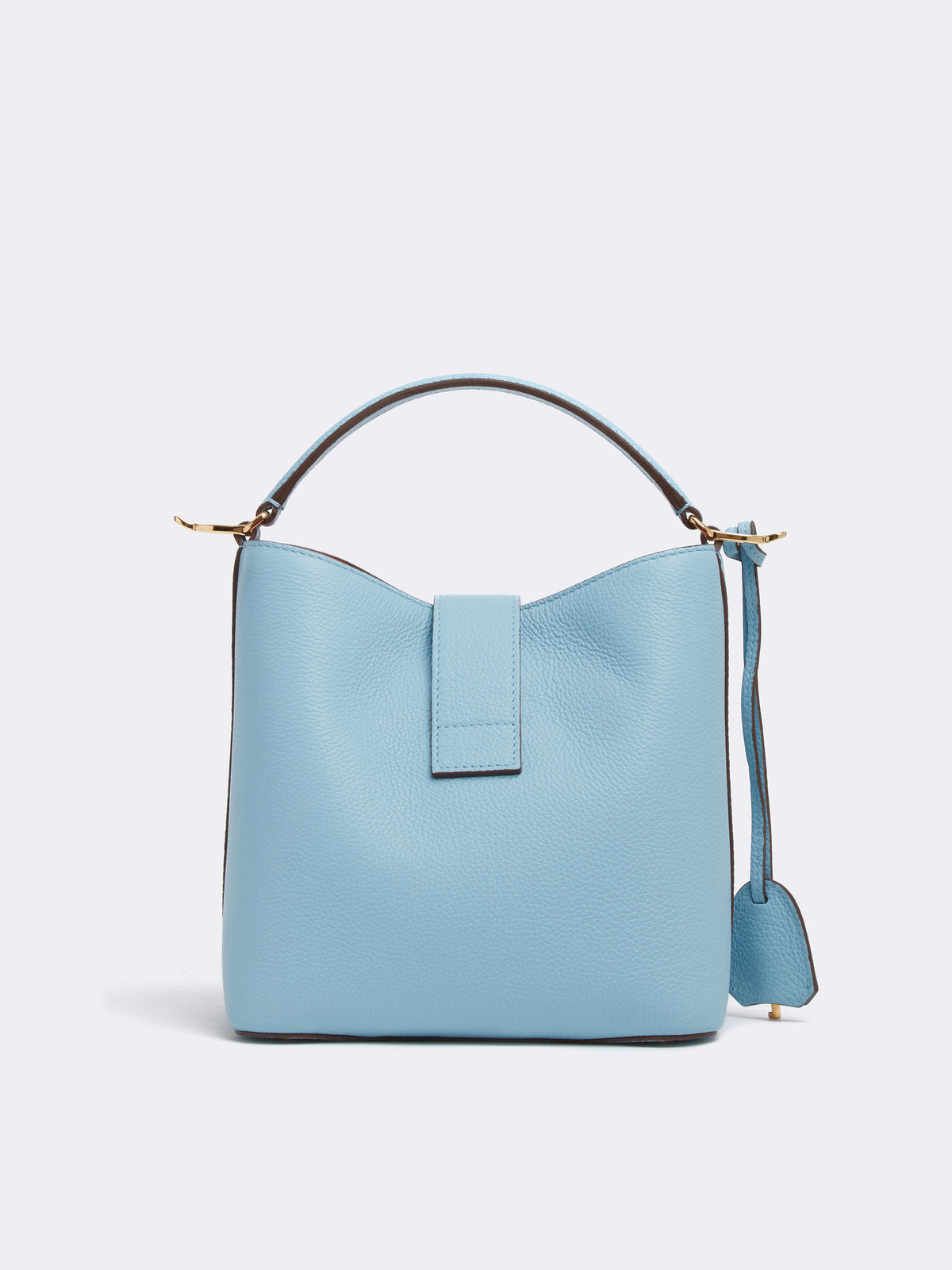 Mark Cross Murphy Small Leather Bucket Bag Tumbled Grain Powder Blue Back