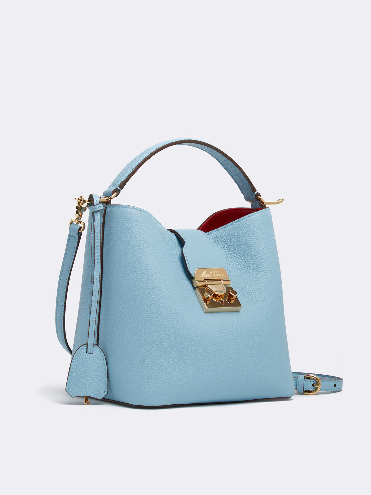 Mark Cross Murphy Small Leather Bucket Bag Tumbled Grain Powder Blue Side