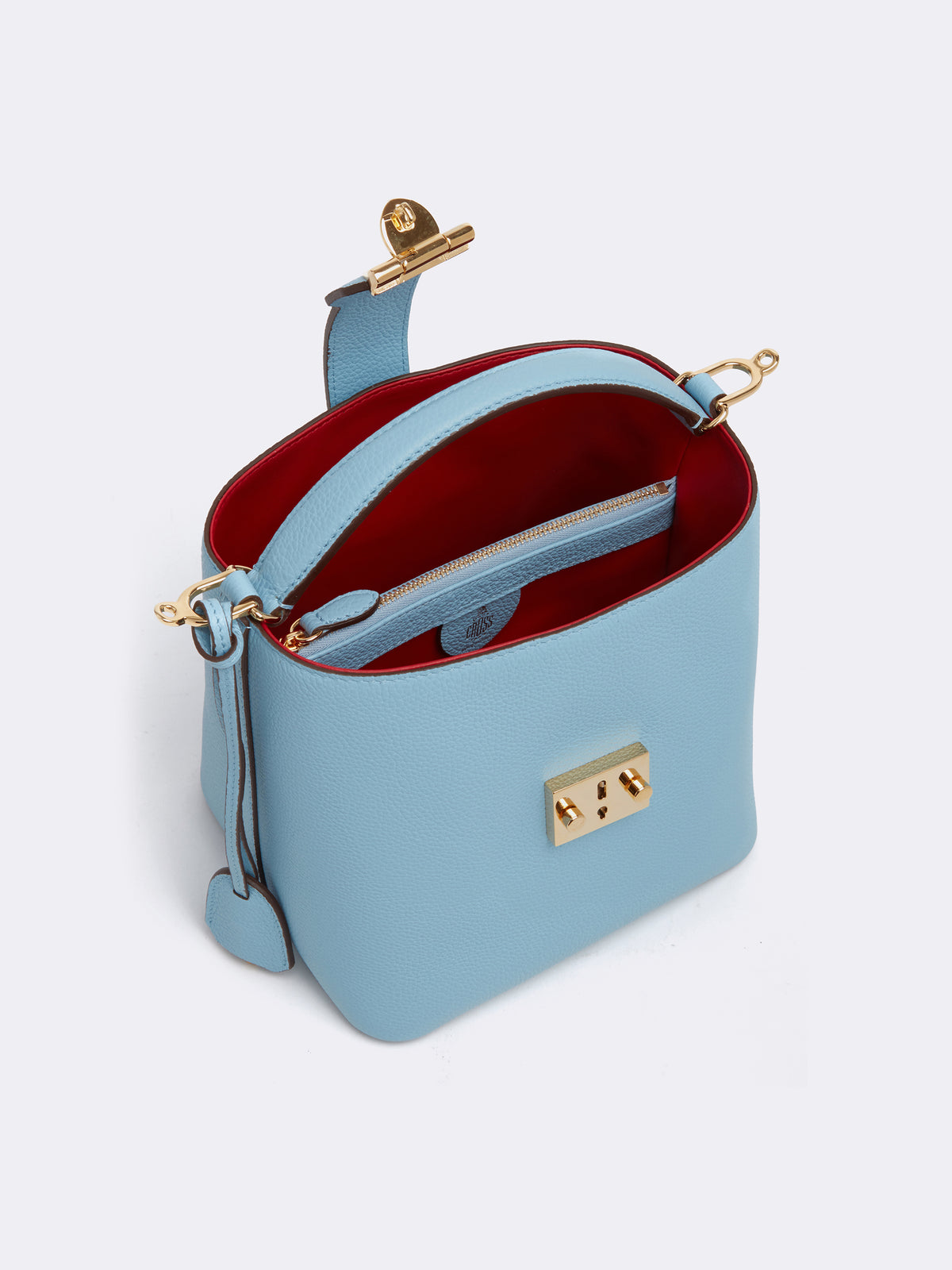 Mark Cross Murphy Small Leather Bucket Bag Tumbled Grain Powder Blue Interior